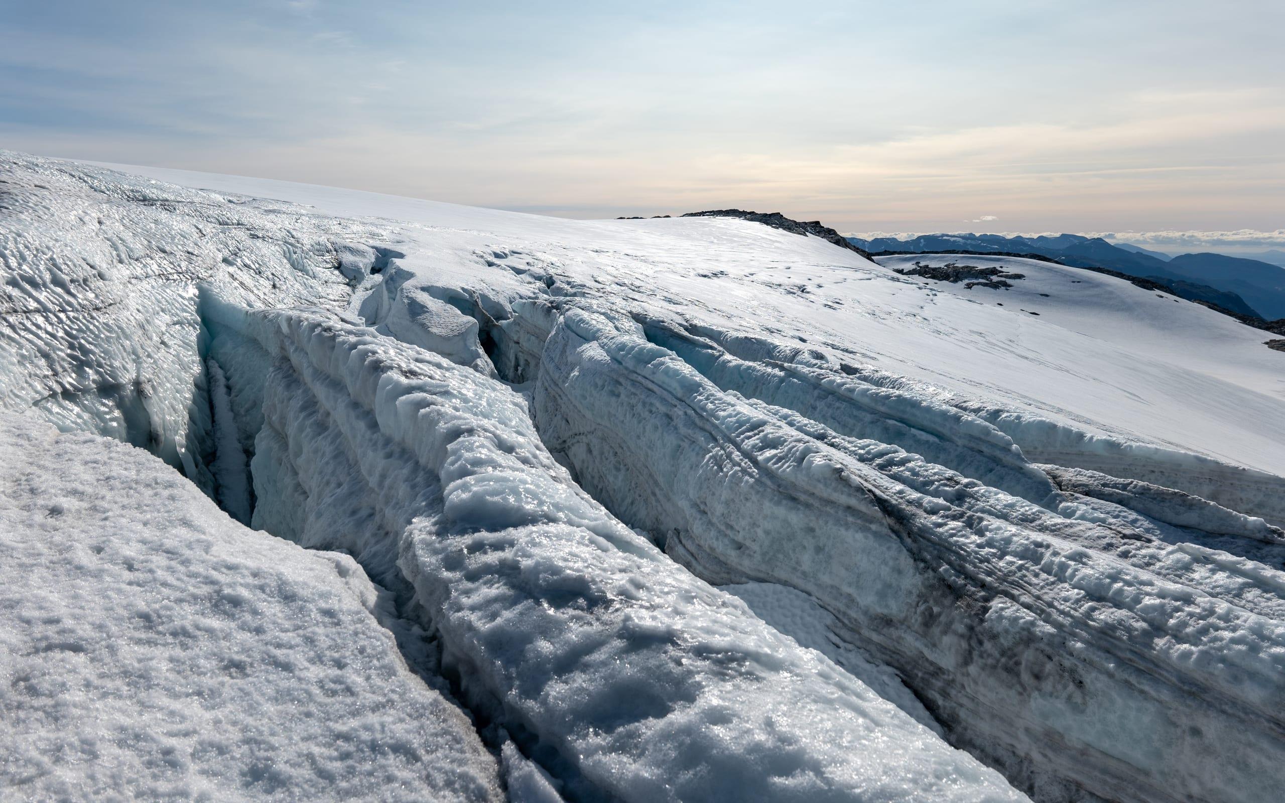 Deep crevasses in Folgefonna Glacier