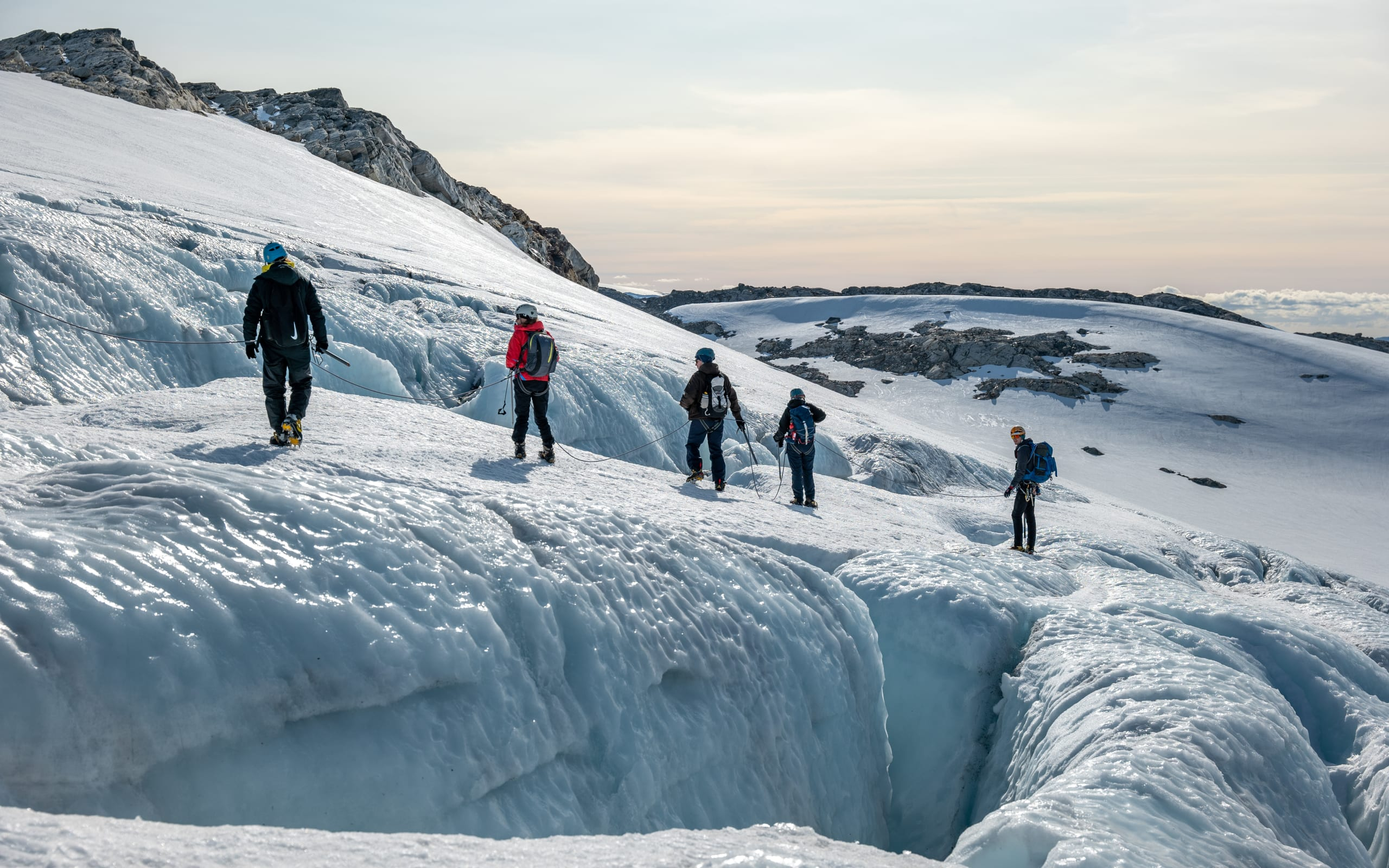 Hiking on top of a big crevasse