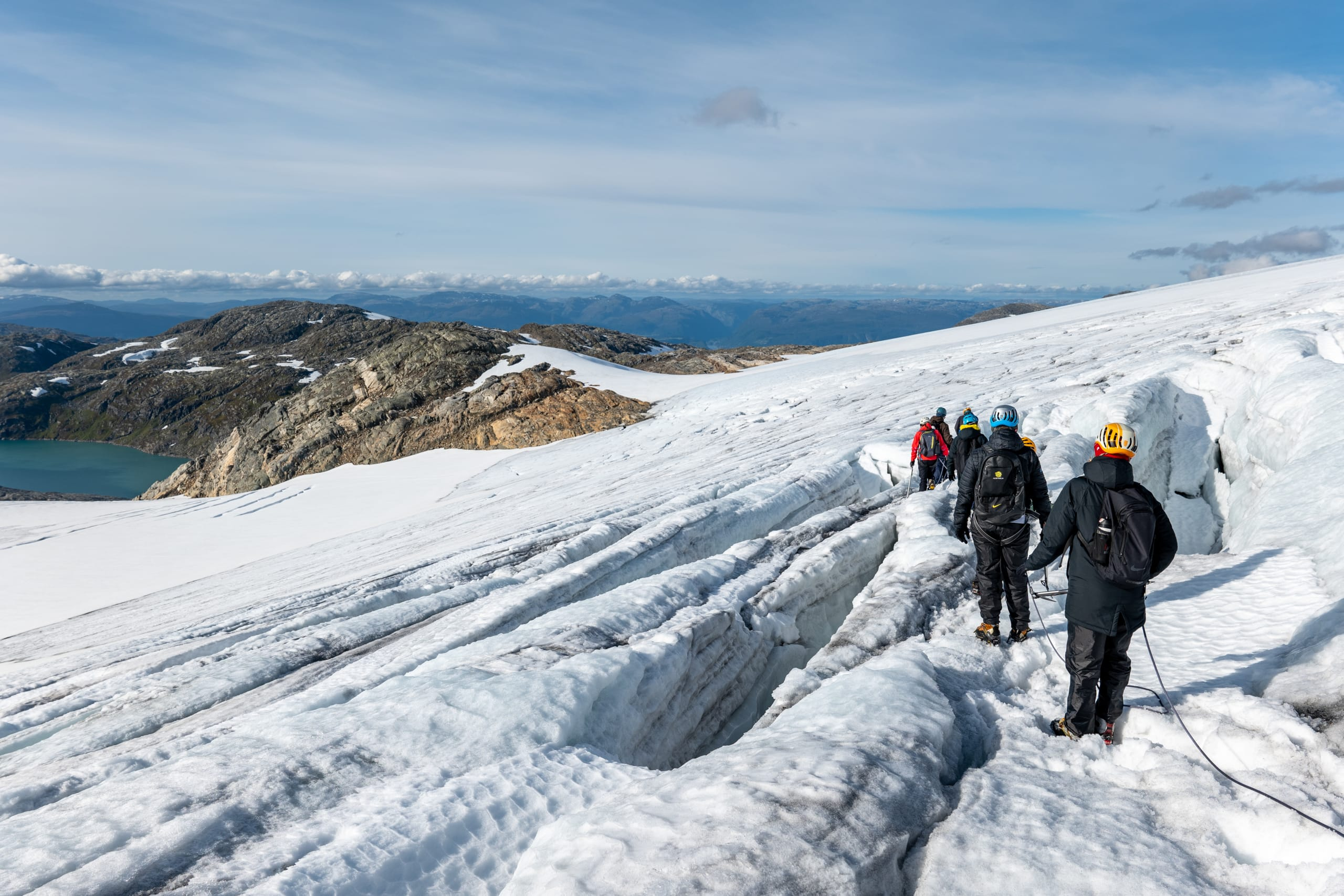 Hiking down in glacier crevasses