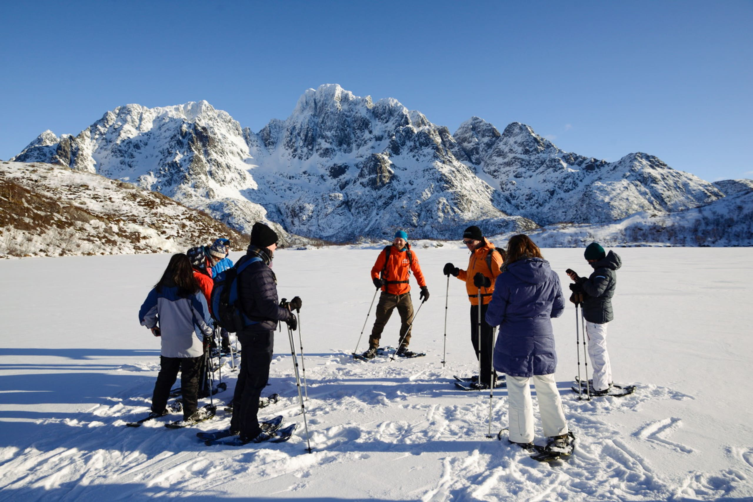 Group of tourists on nature safari in the Lofoten mountains