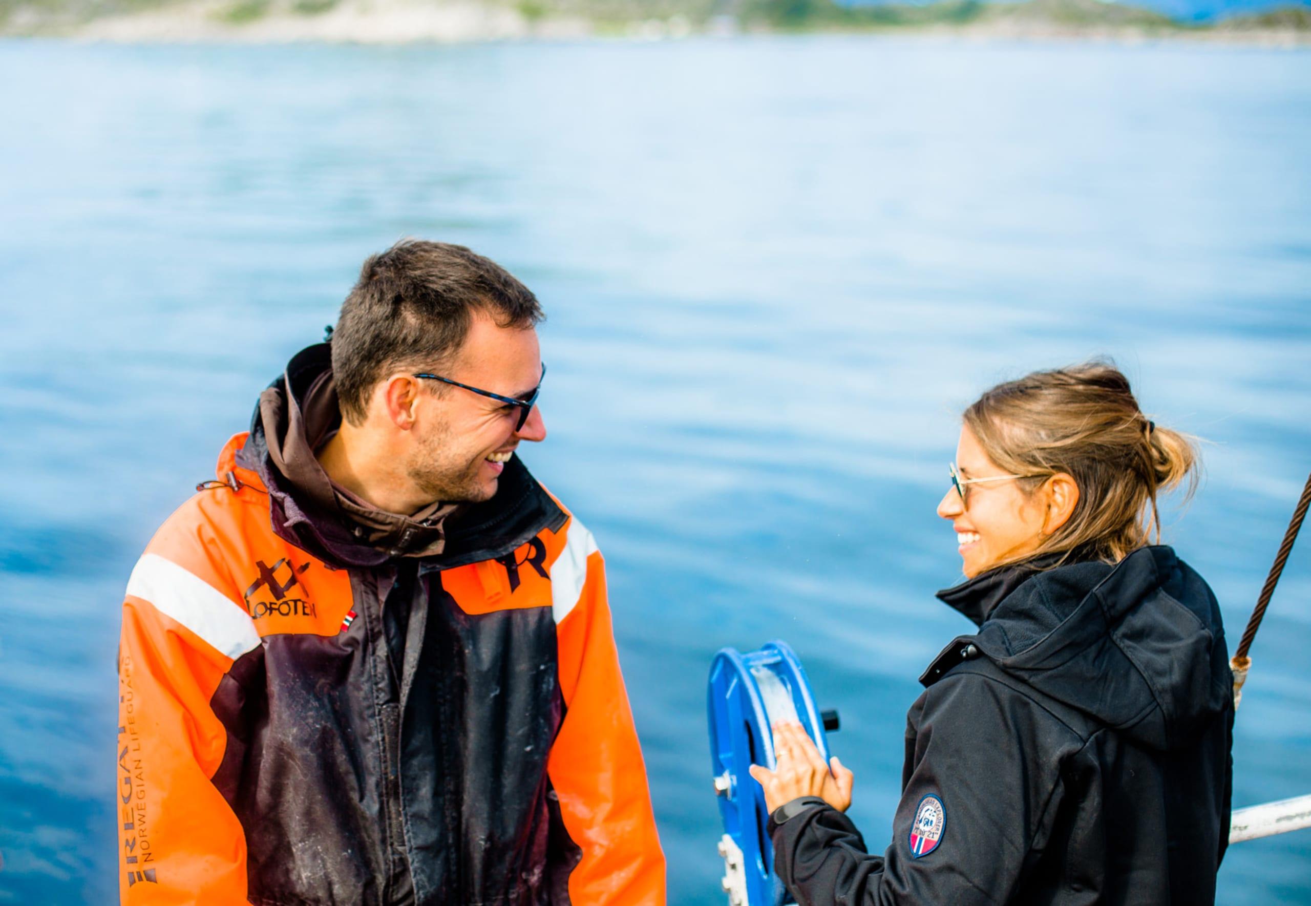 Couple on fishing trip in Lofoten