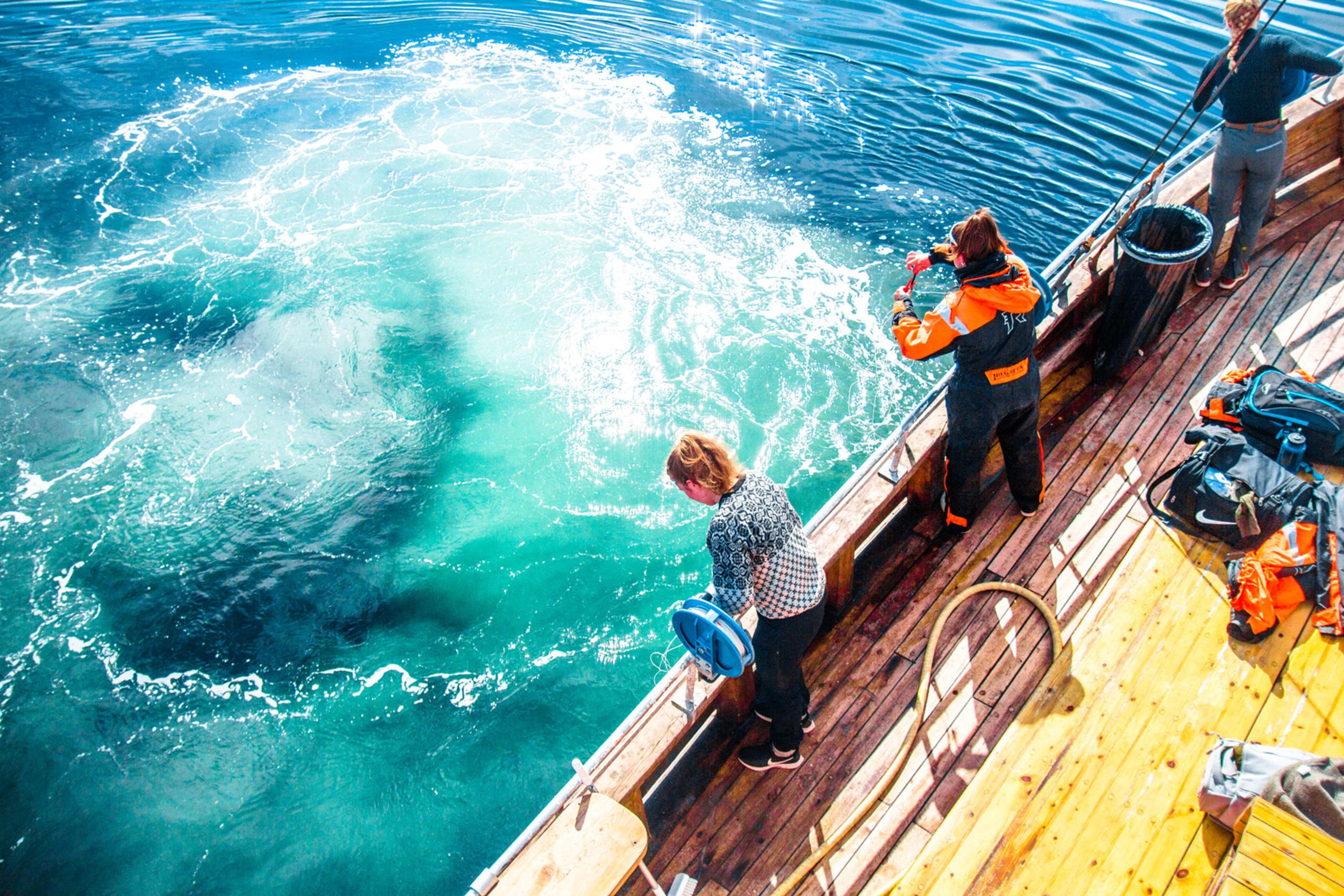 sparkling water on fishing trip in Lofoten