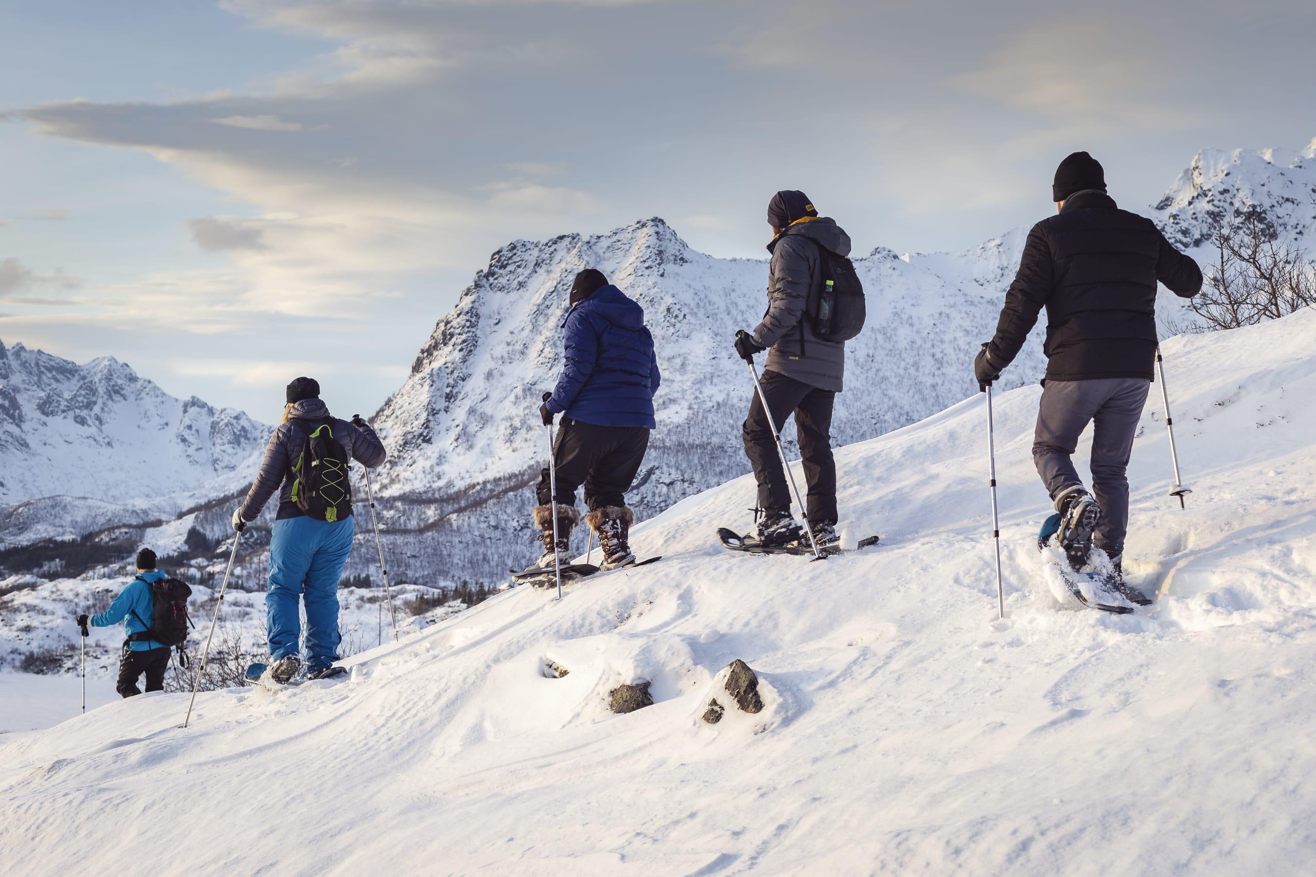 Snowshoeing in the mountains of Lofoten