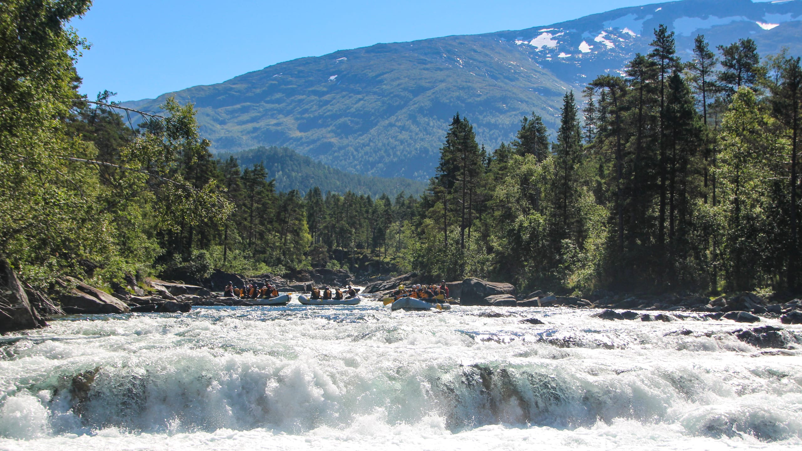 Wild rafting river at Voss
