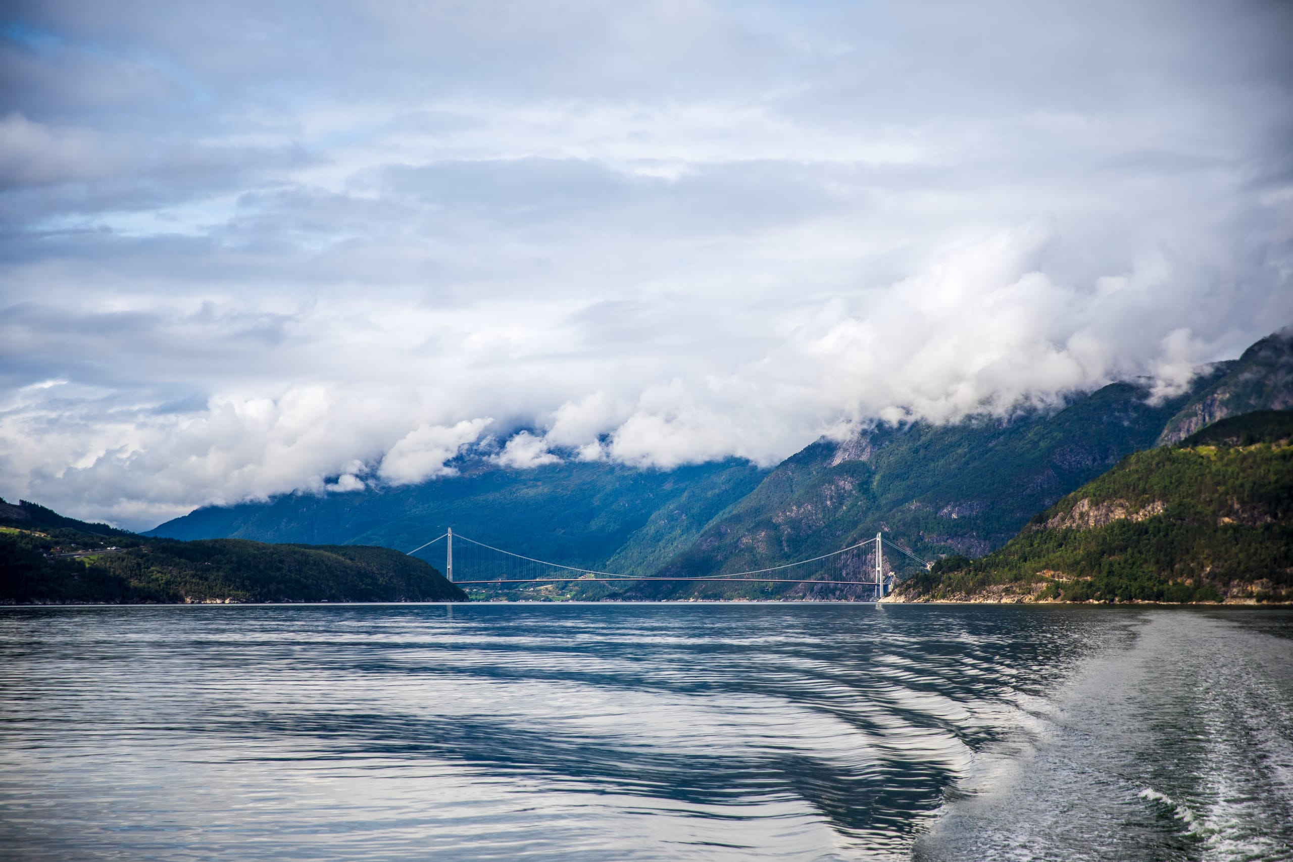 Hardanger bridge seen from the Hardangerfjord