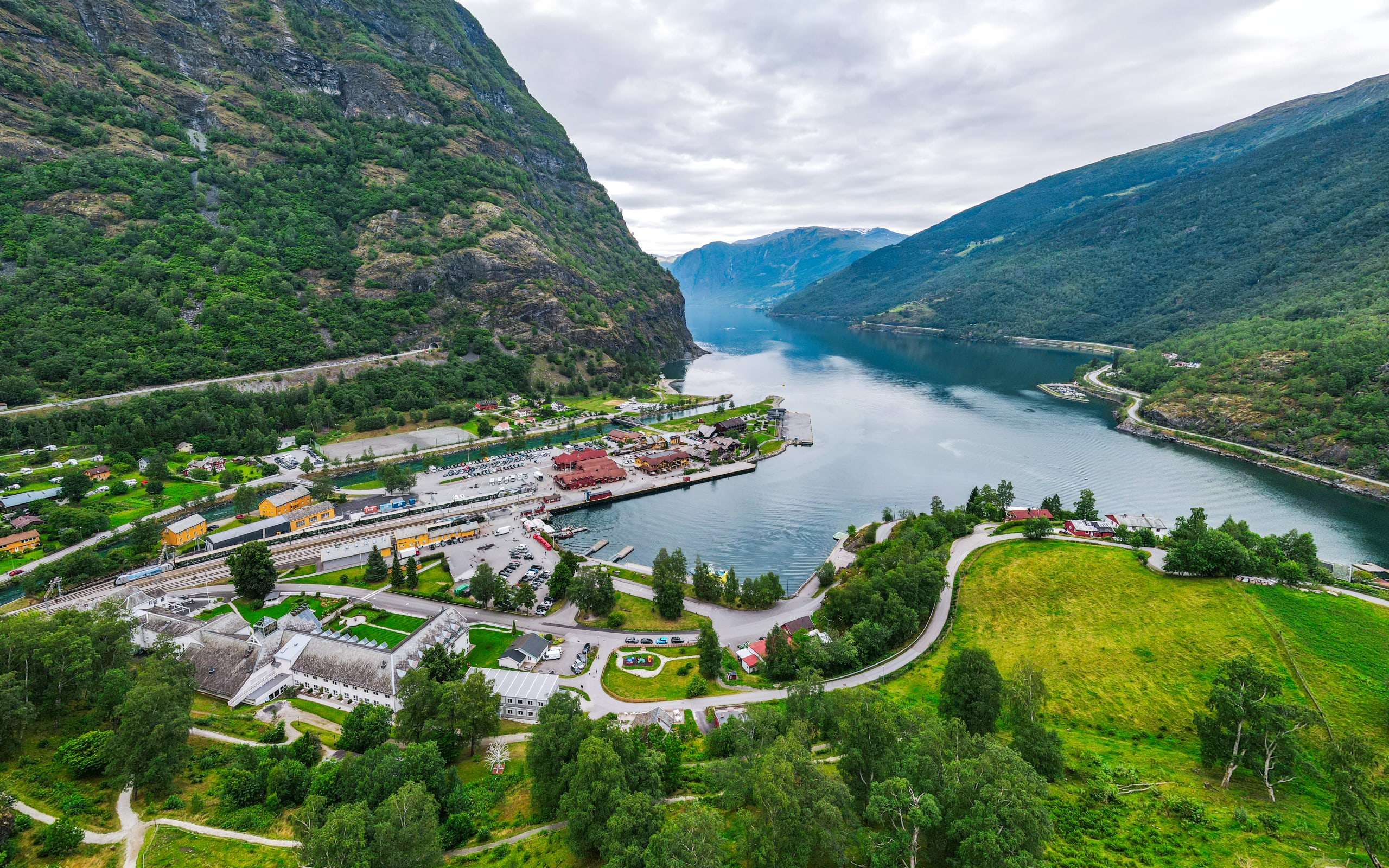 Flåm town centre with Ægir and Flåmsbana