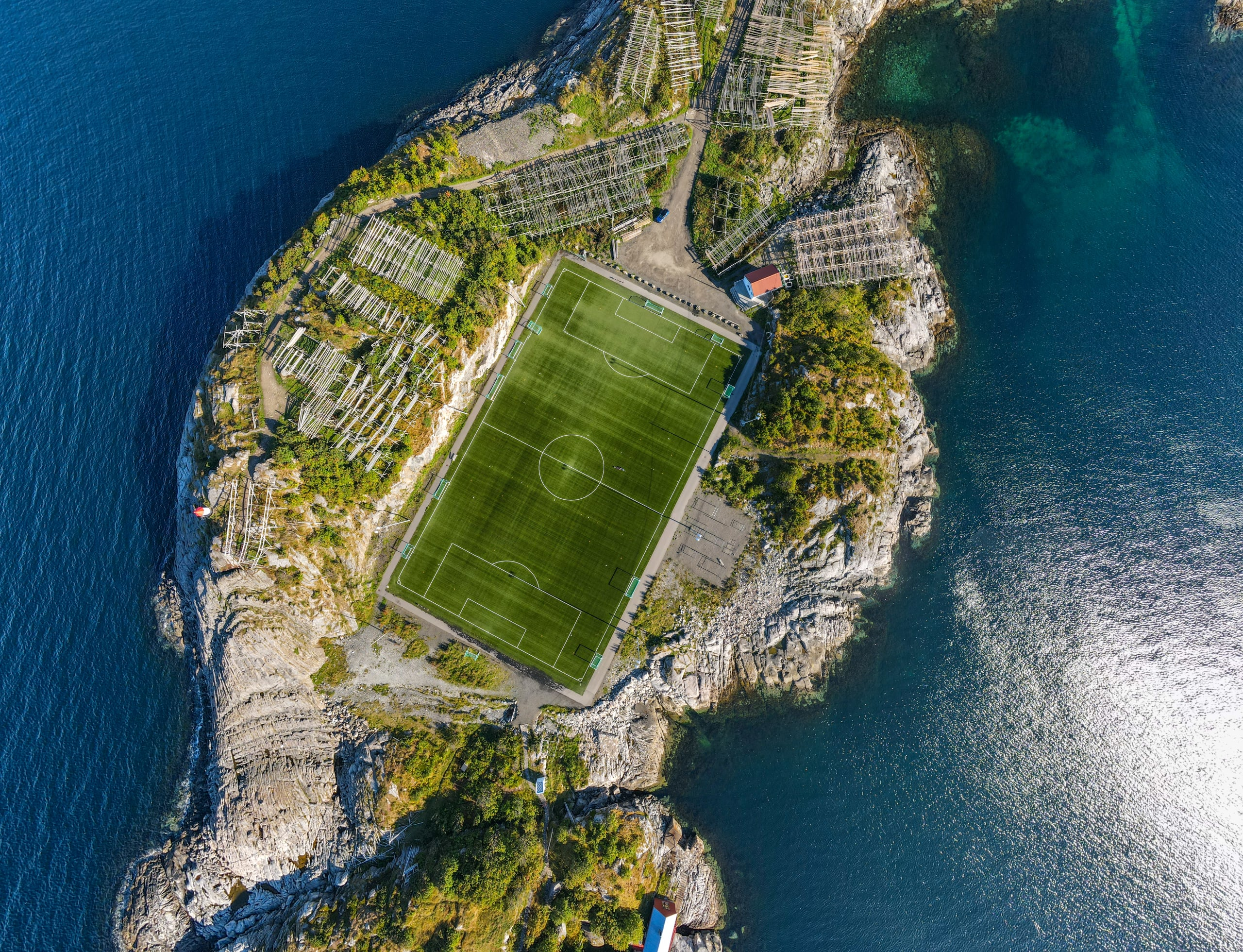 Henningsvær stadium from above