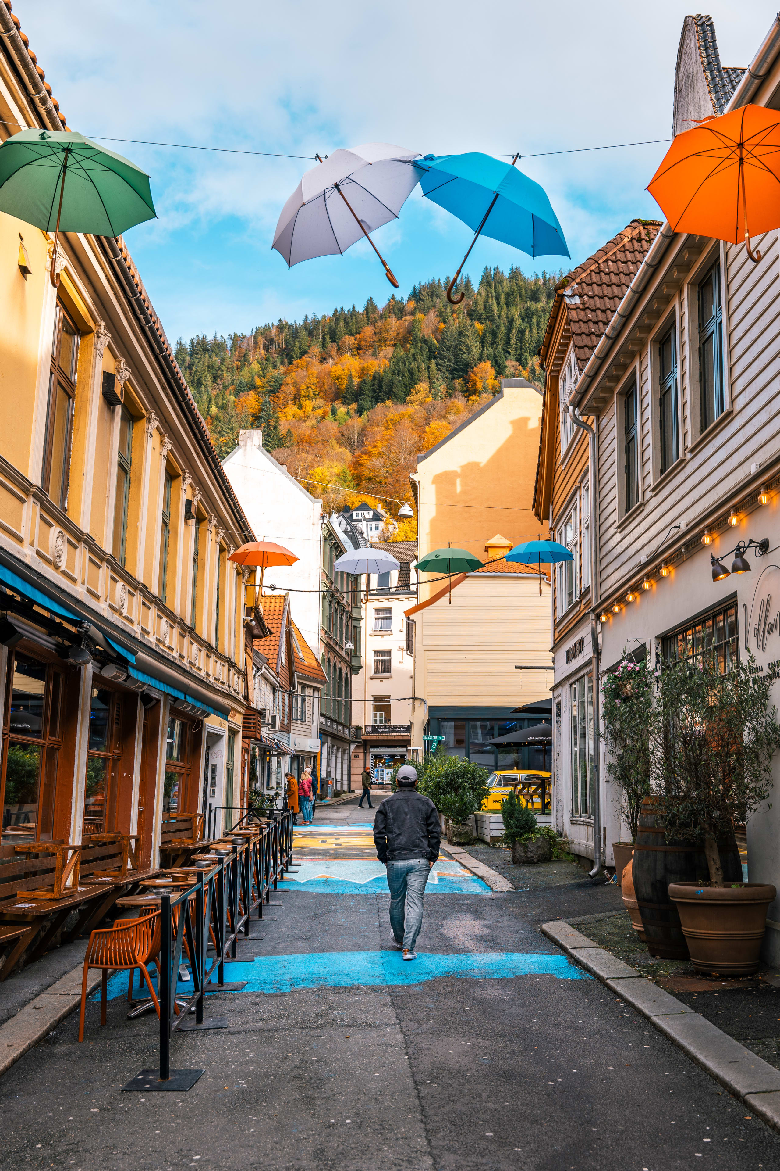 Skostredet vibrant street in Bergen