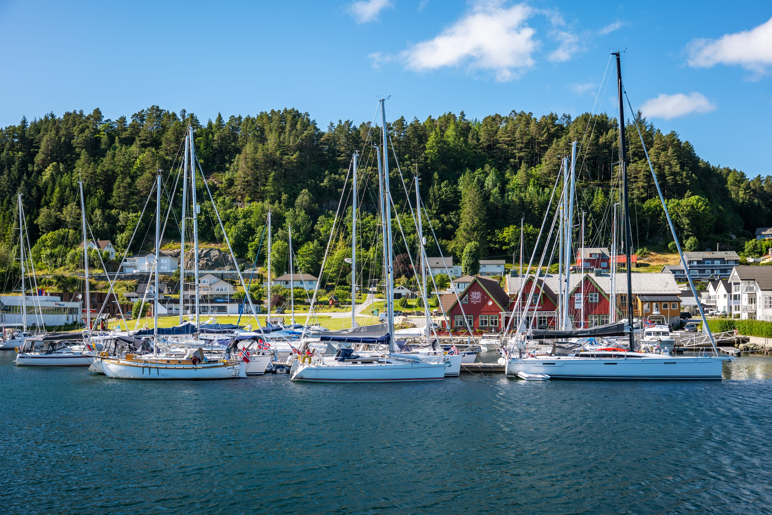 Sailboats in harbour on the West Coast of Norway