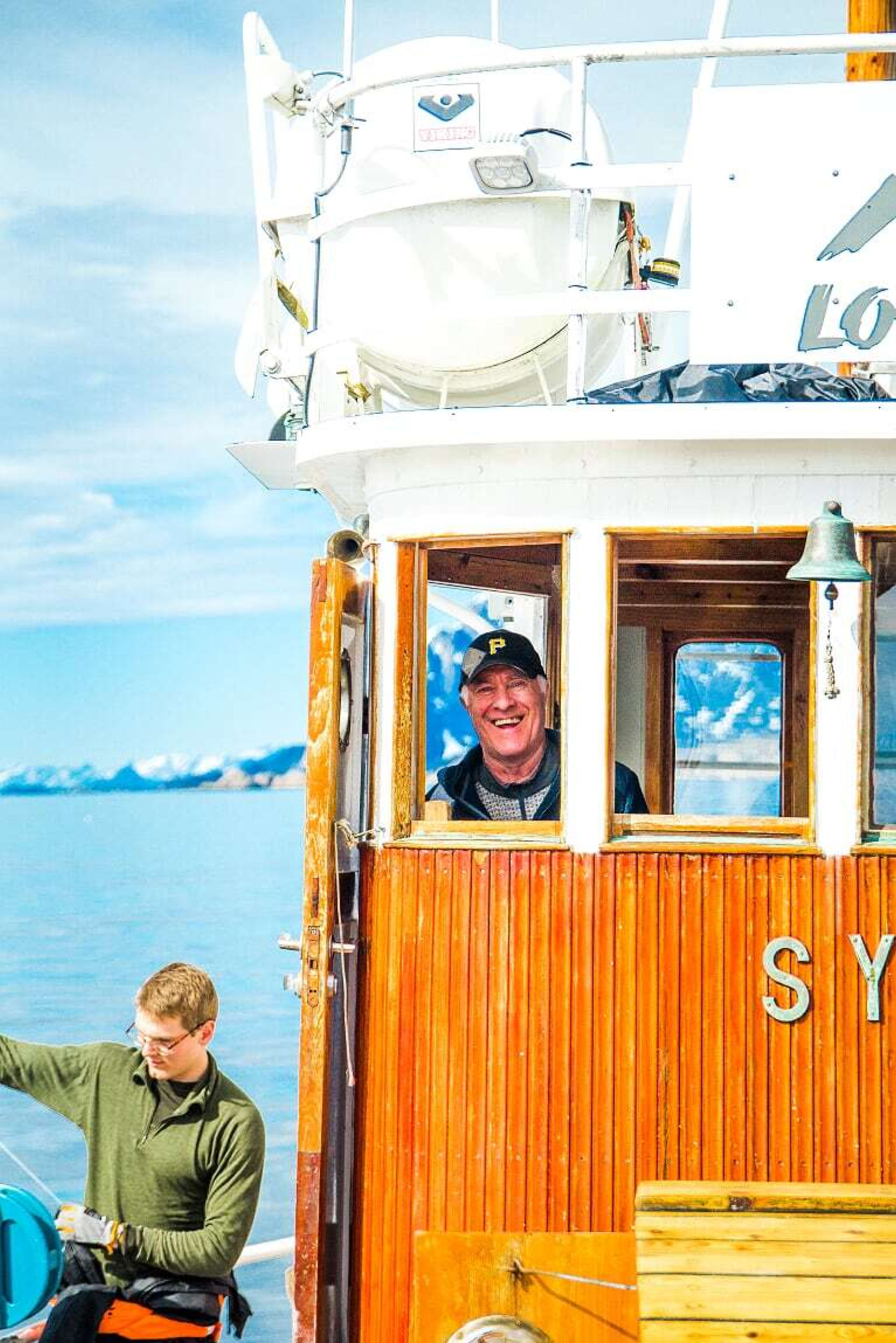 Captain Albertsen on his 100 year old boat MV Symra