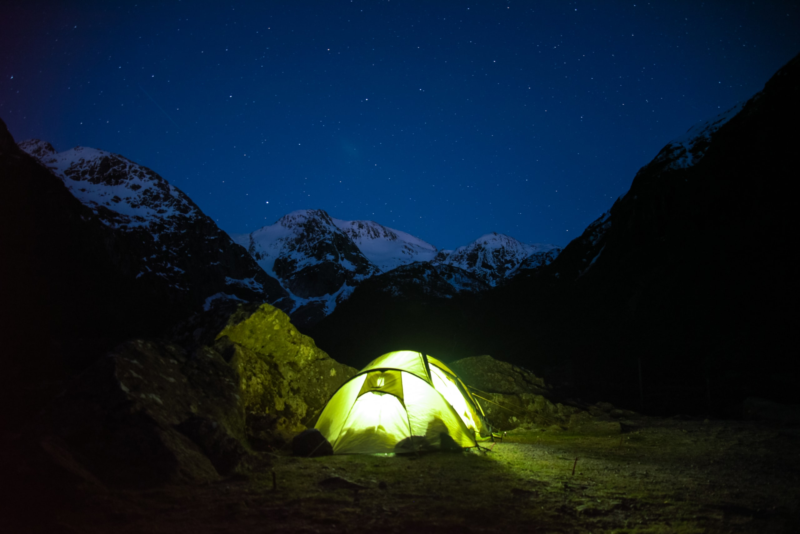 Sleeping outside in tents under the starry sky