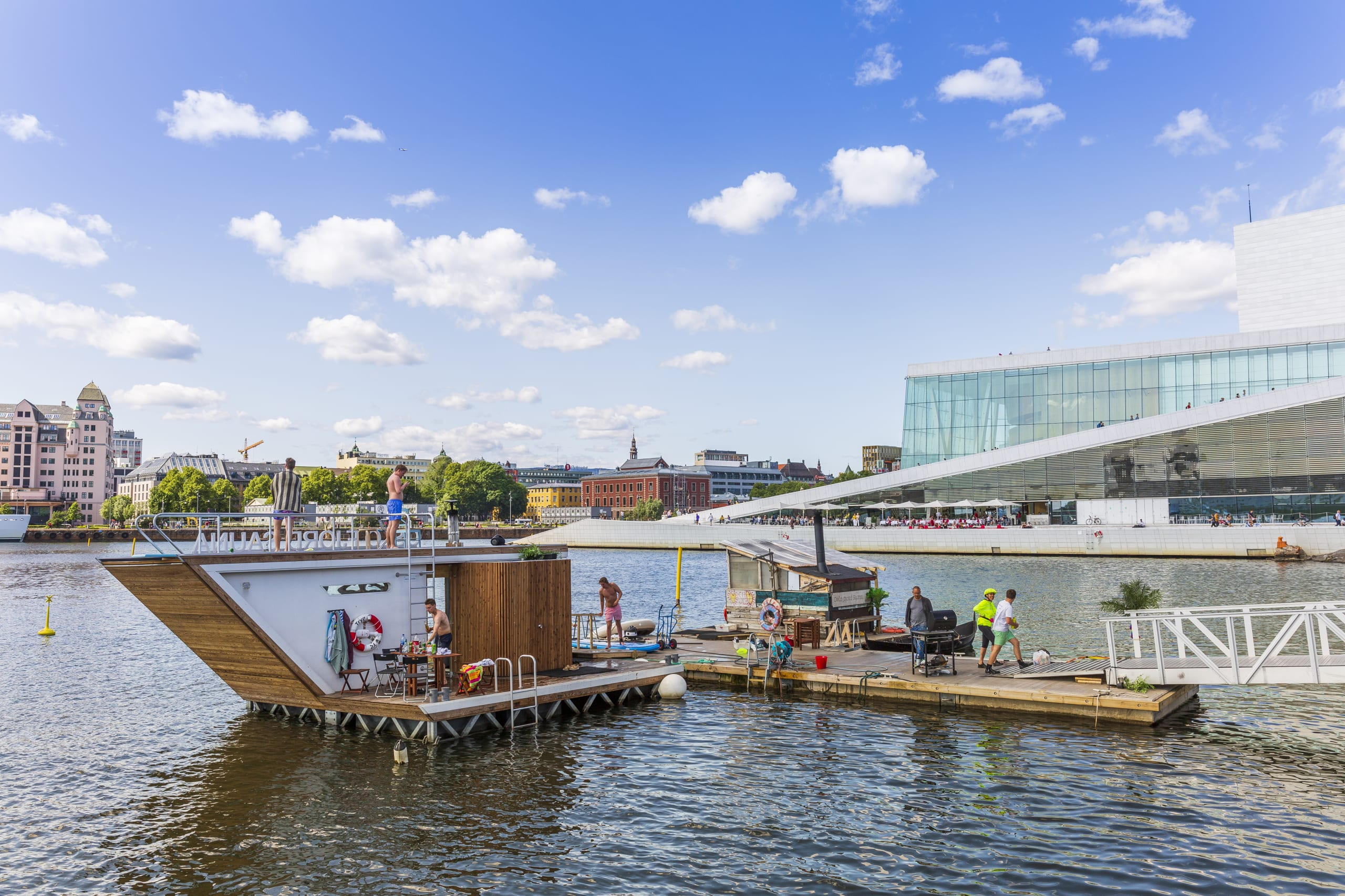 Floating sauna in front of the Oslo Opera House