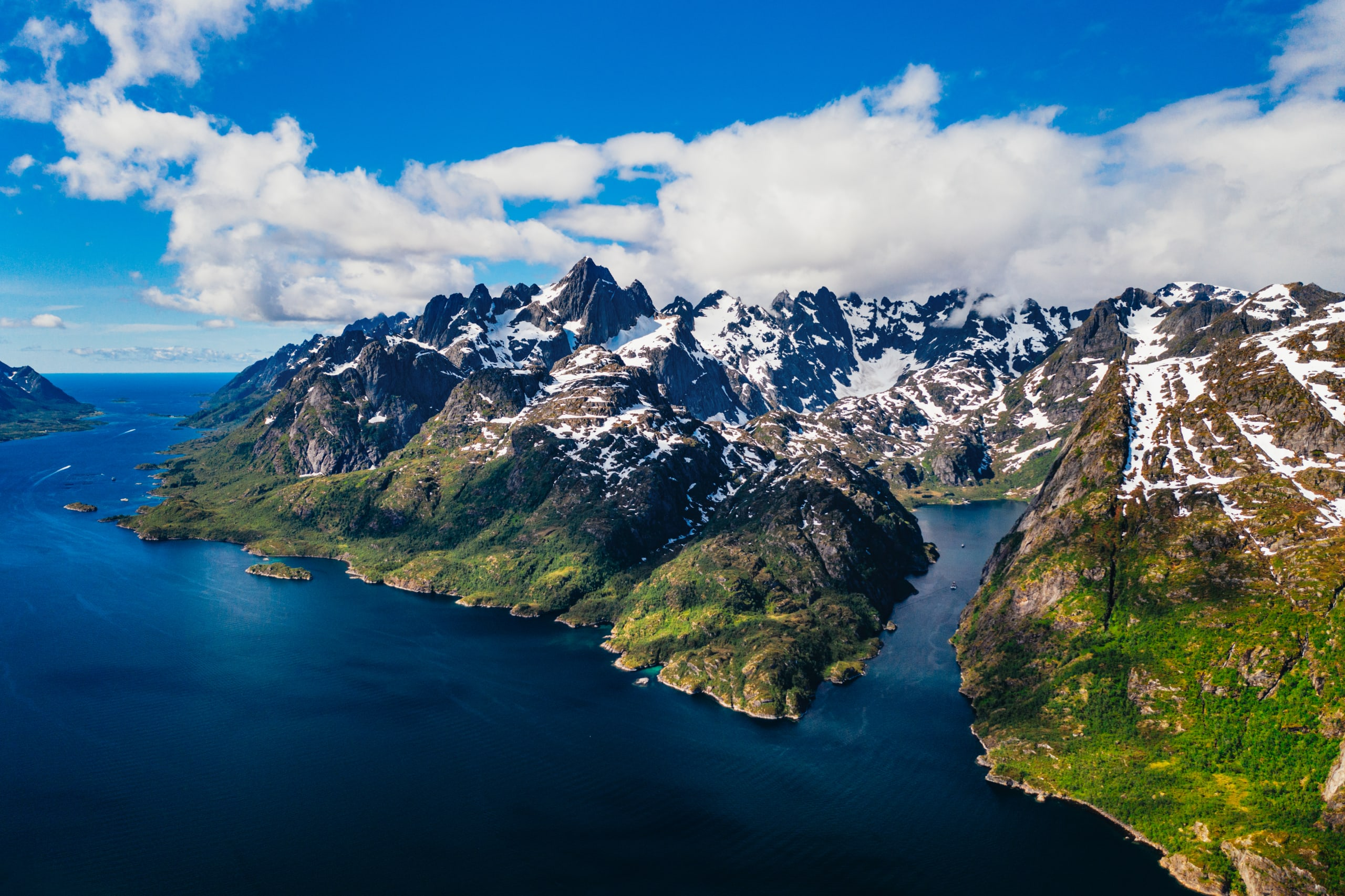 Trollfjord mountains rising from the sea and rocky peak