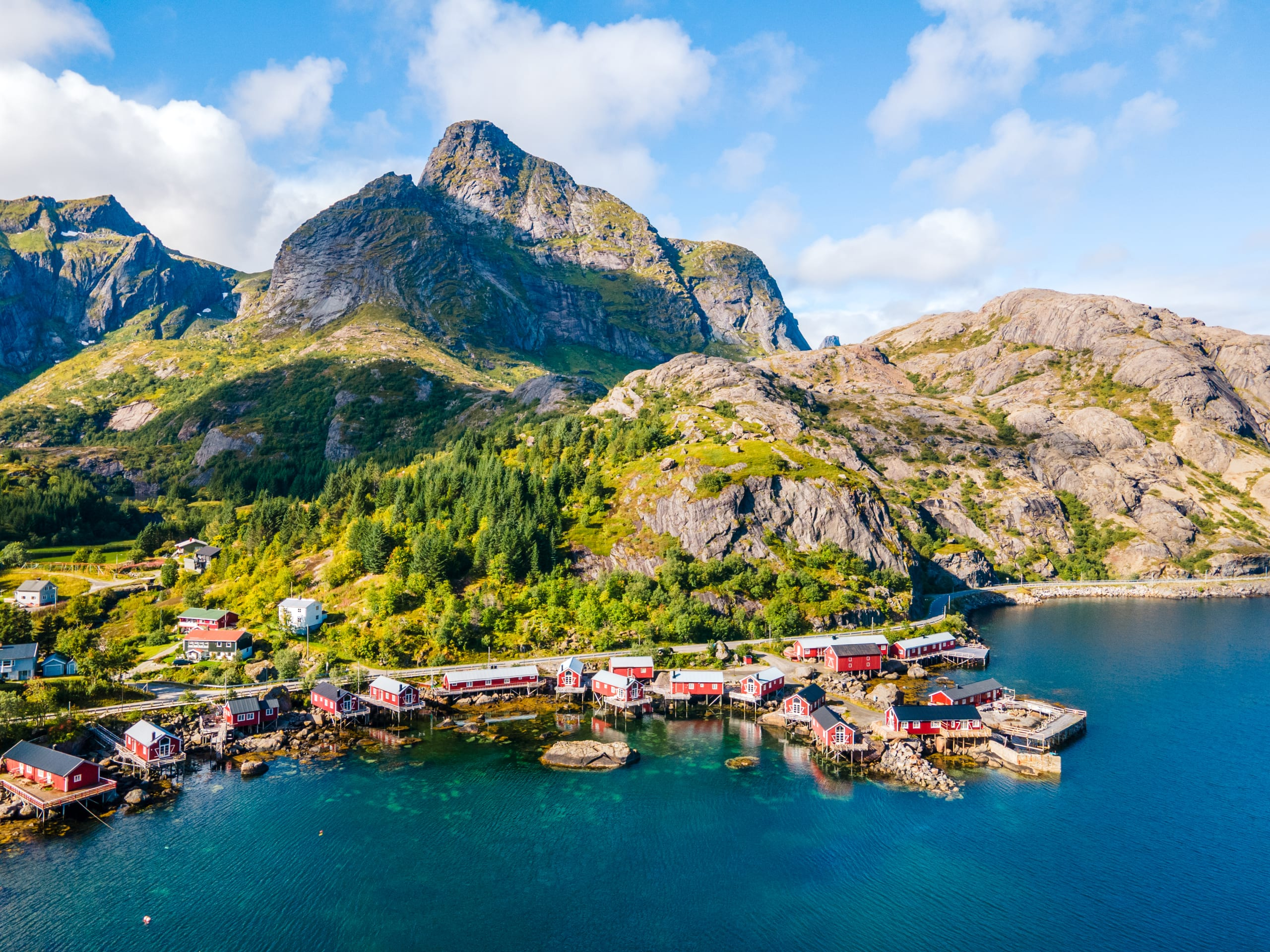 Nusfjord fishing village and red Rorbu cabins