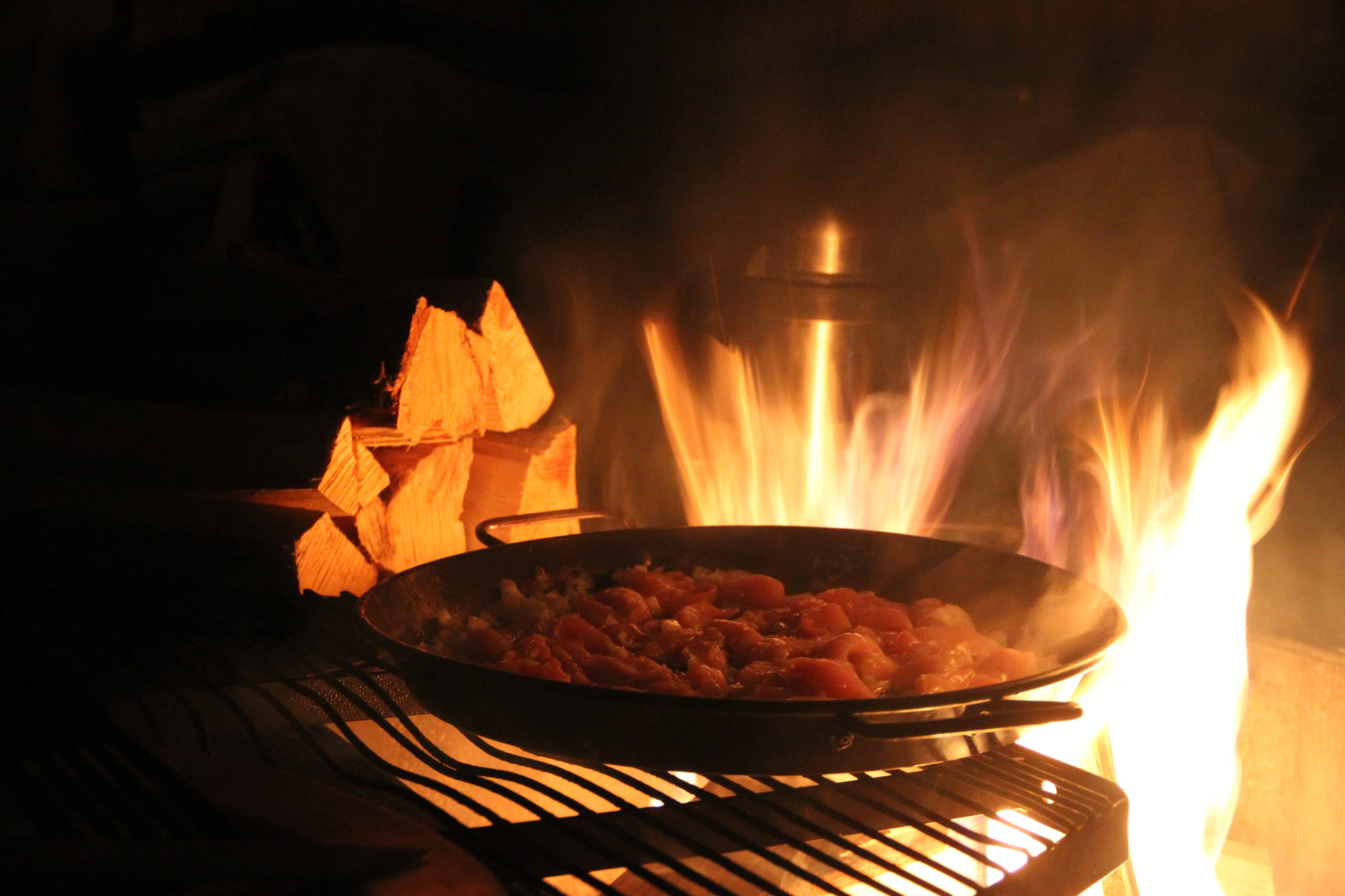 Food cooked on the fire