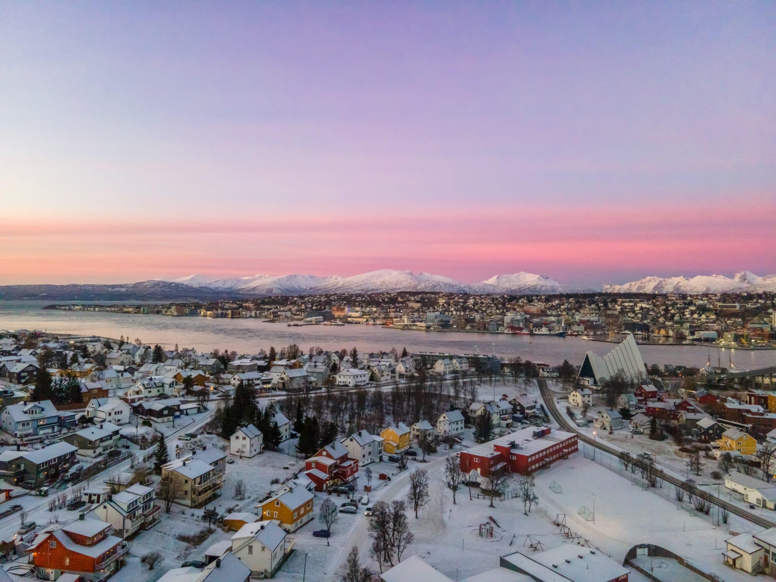 Pink sky over Tromsø