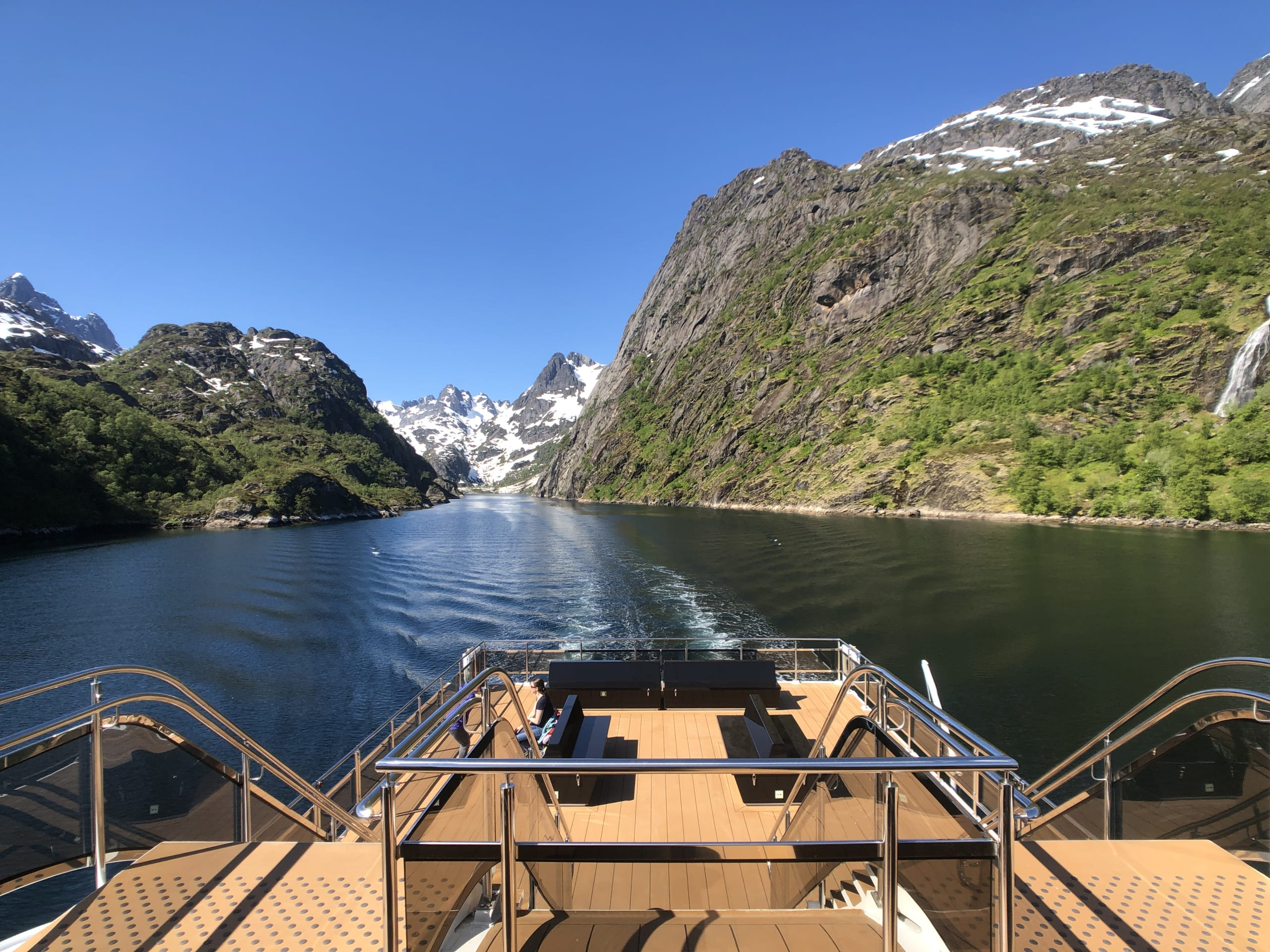 Brim Explorer sailing out from the Trollfjord