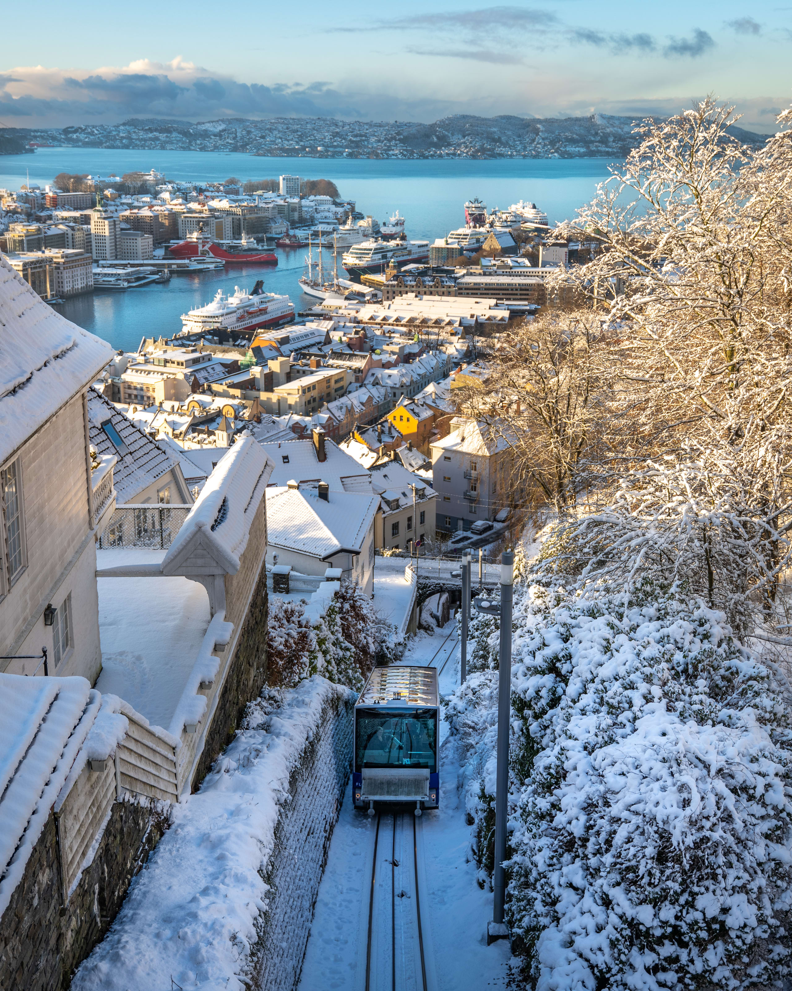 Fløibanen in Bergen at winter