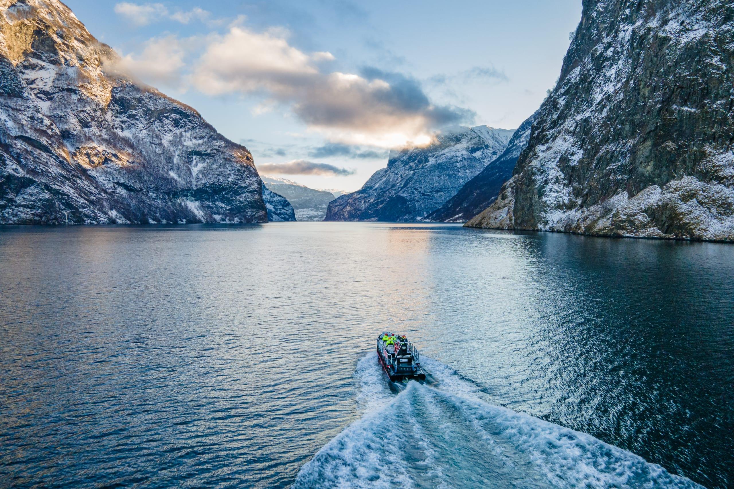 Winter fjord safari on Aurlandsfjorden