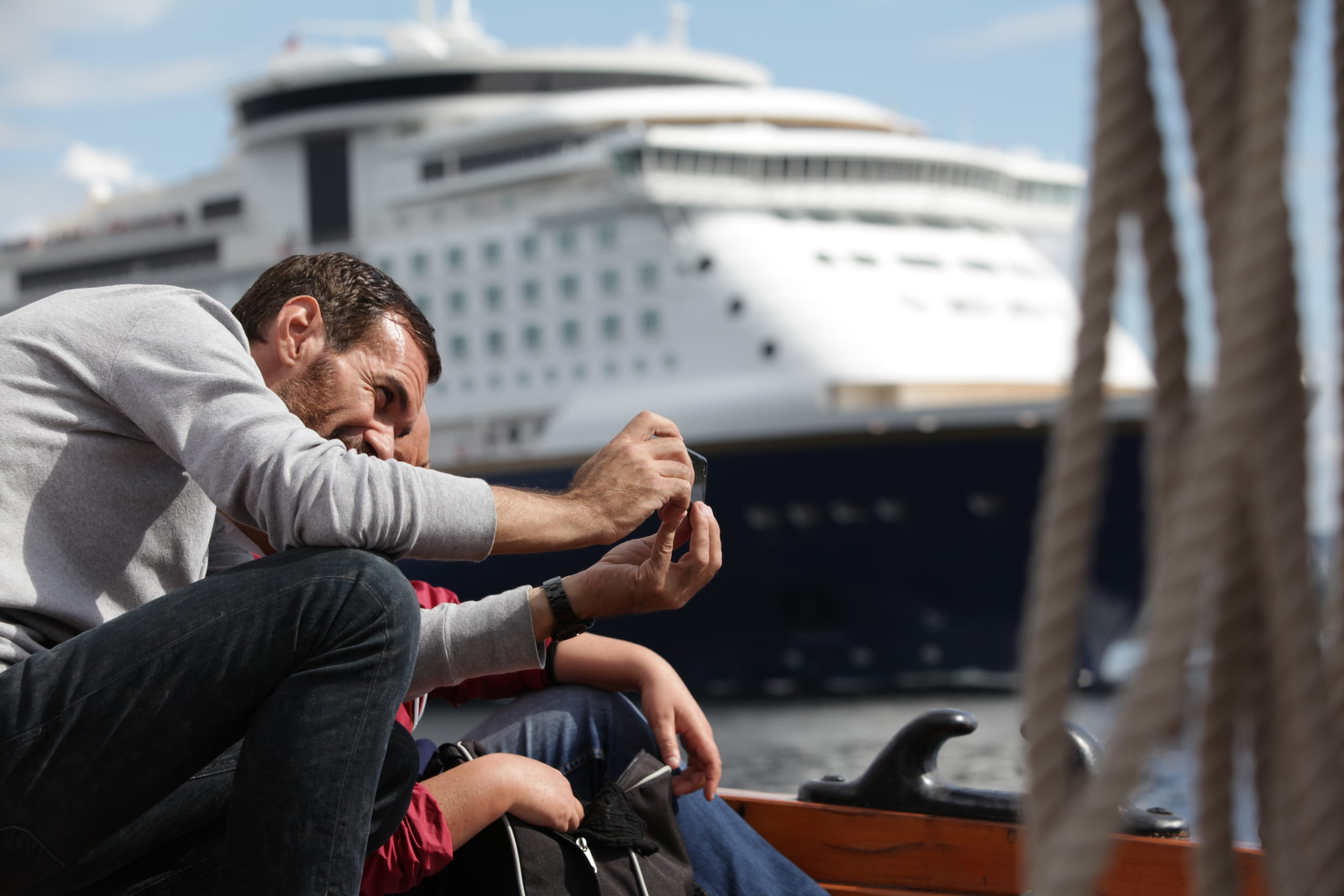 Man photographing on cruise on the Oslofjord