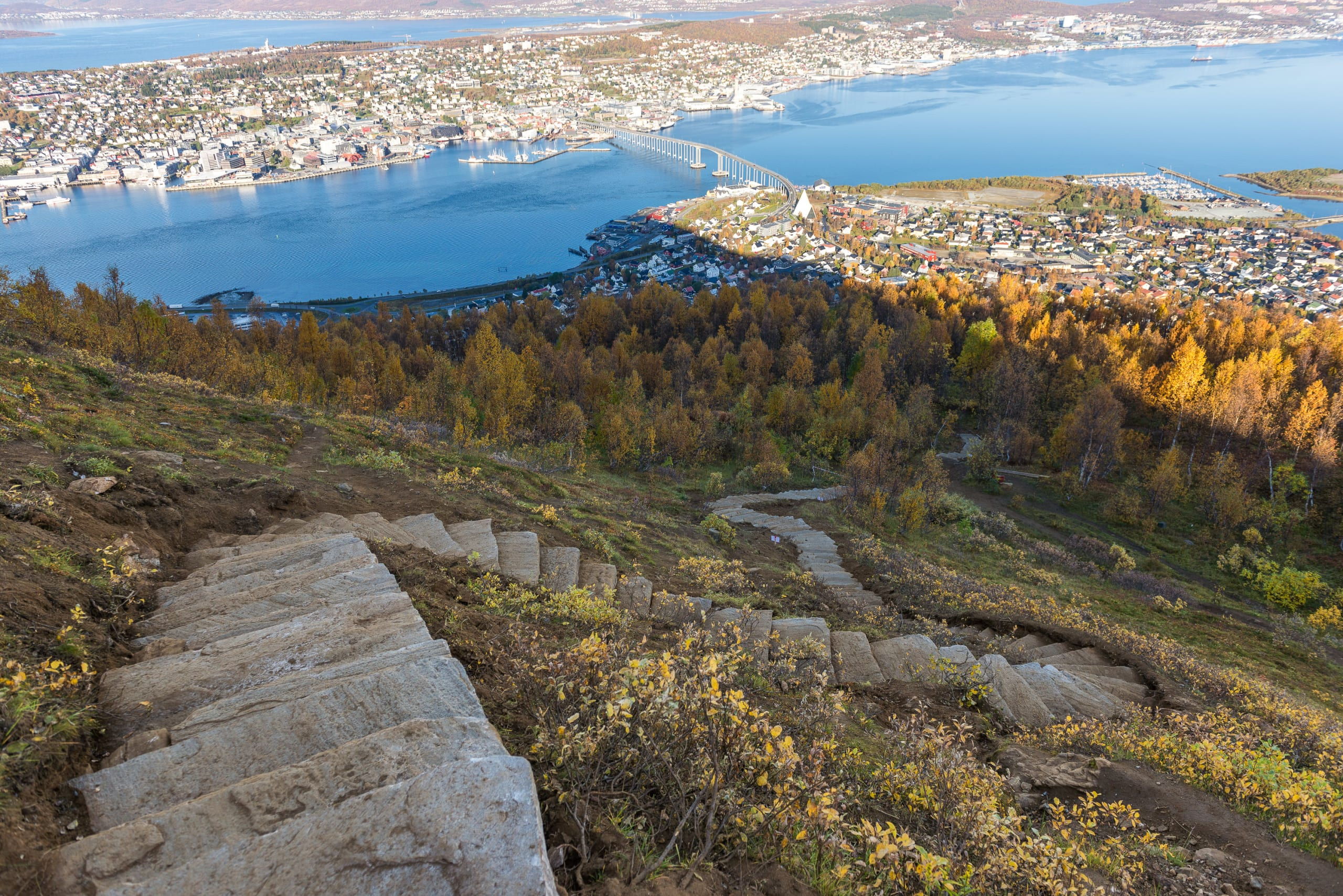 Sherpa stairs leading up to Fjellheisen in Tromsø