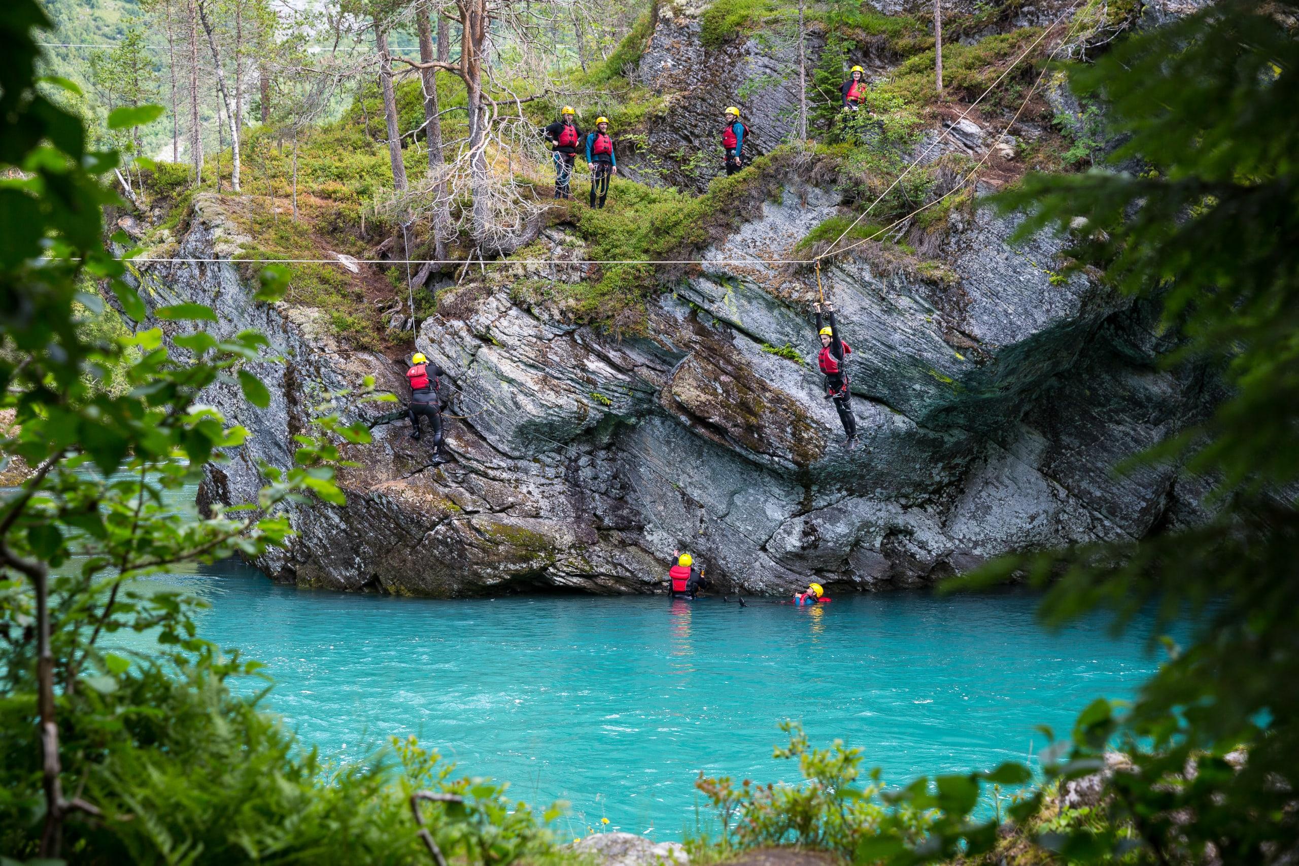 Canyoning at Gudbrands Canyon outside Valldal