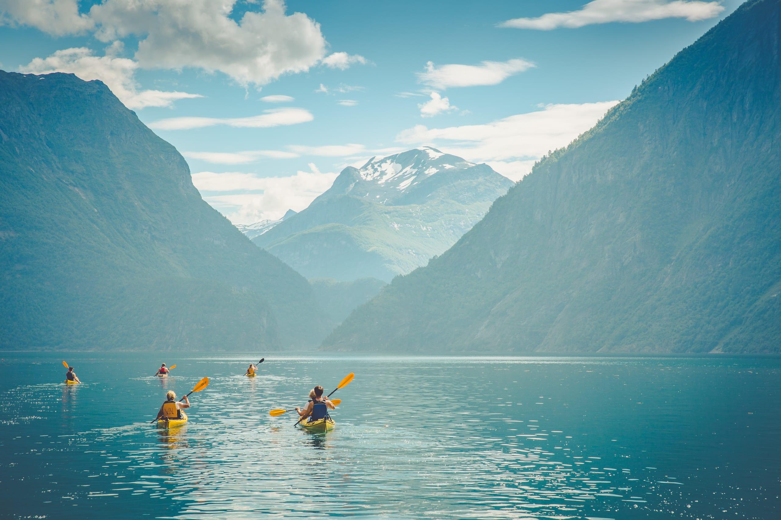 Kayaking in Hjørundfjorden near Stranda