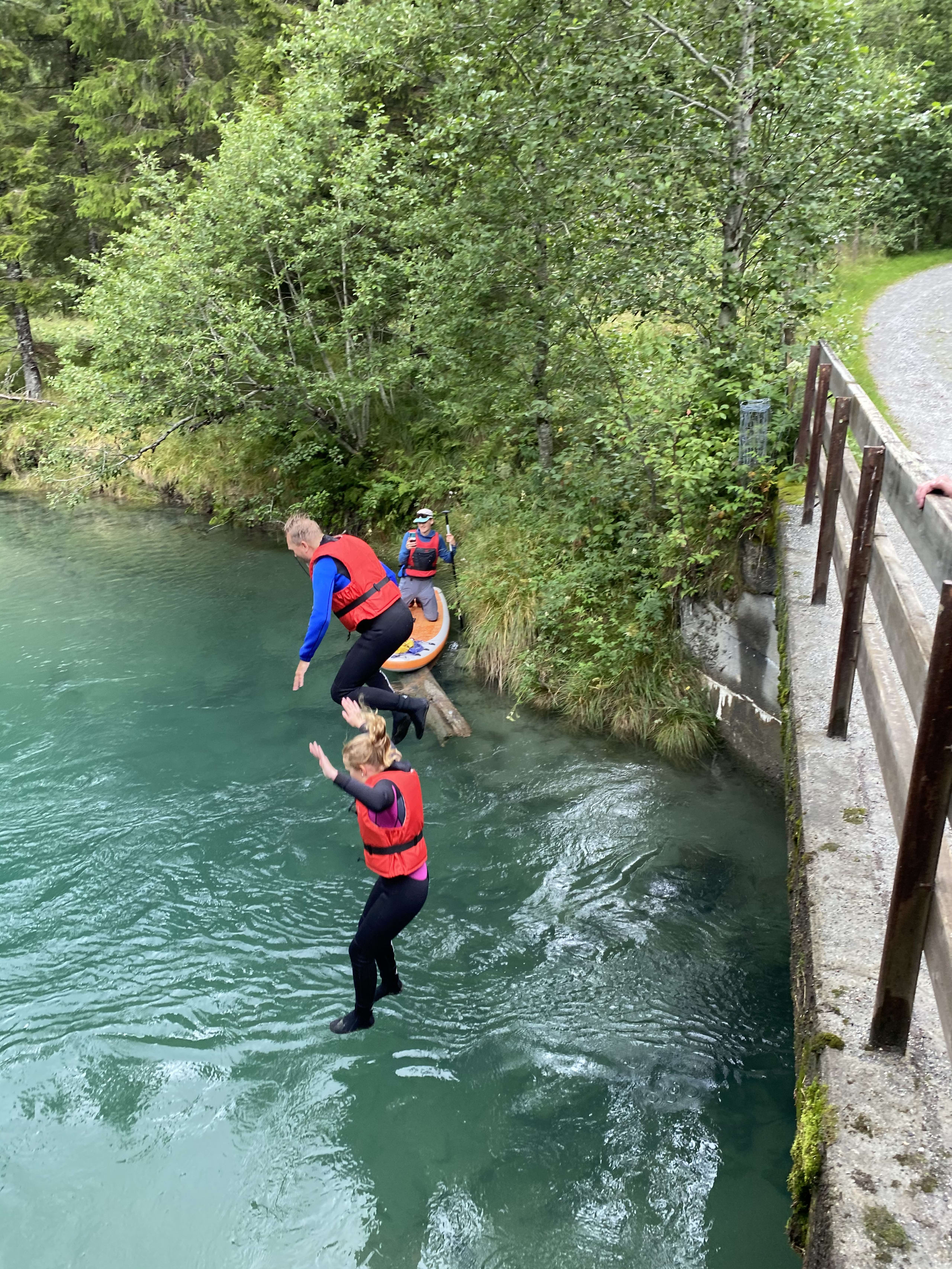 People jumping in the Istra River in Åndalsnes