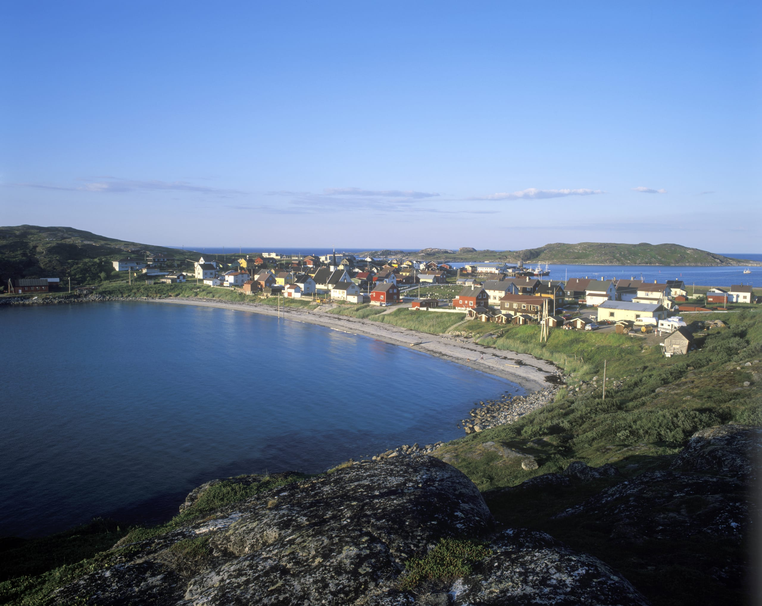 Charming village by the sea at Magerøya in Finnmark