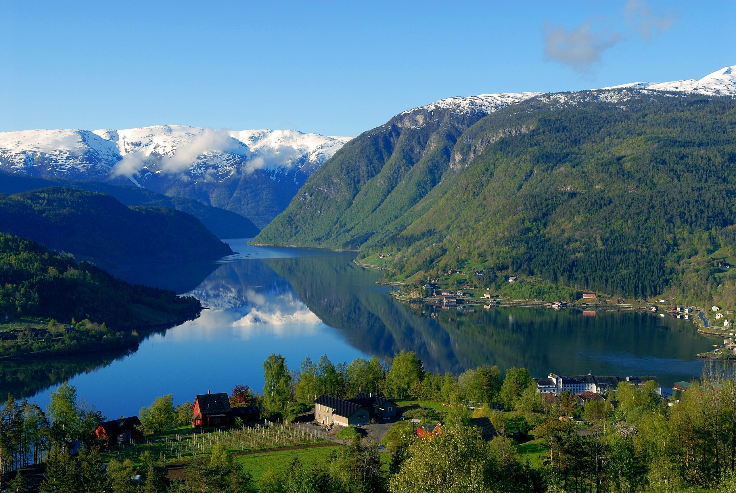 Ulvik fjord village along the Hardangerfjord