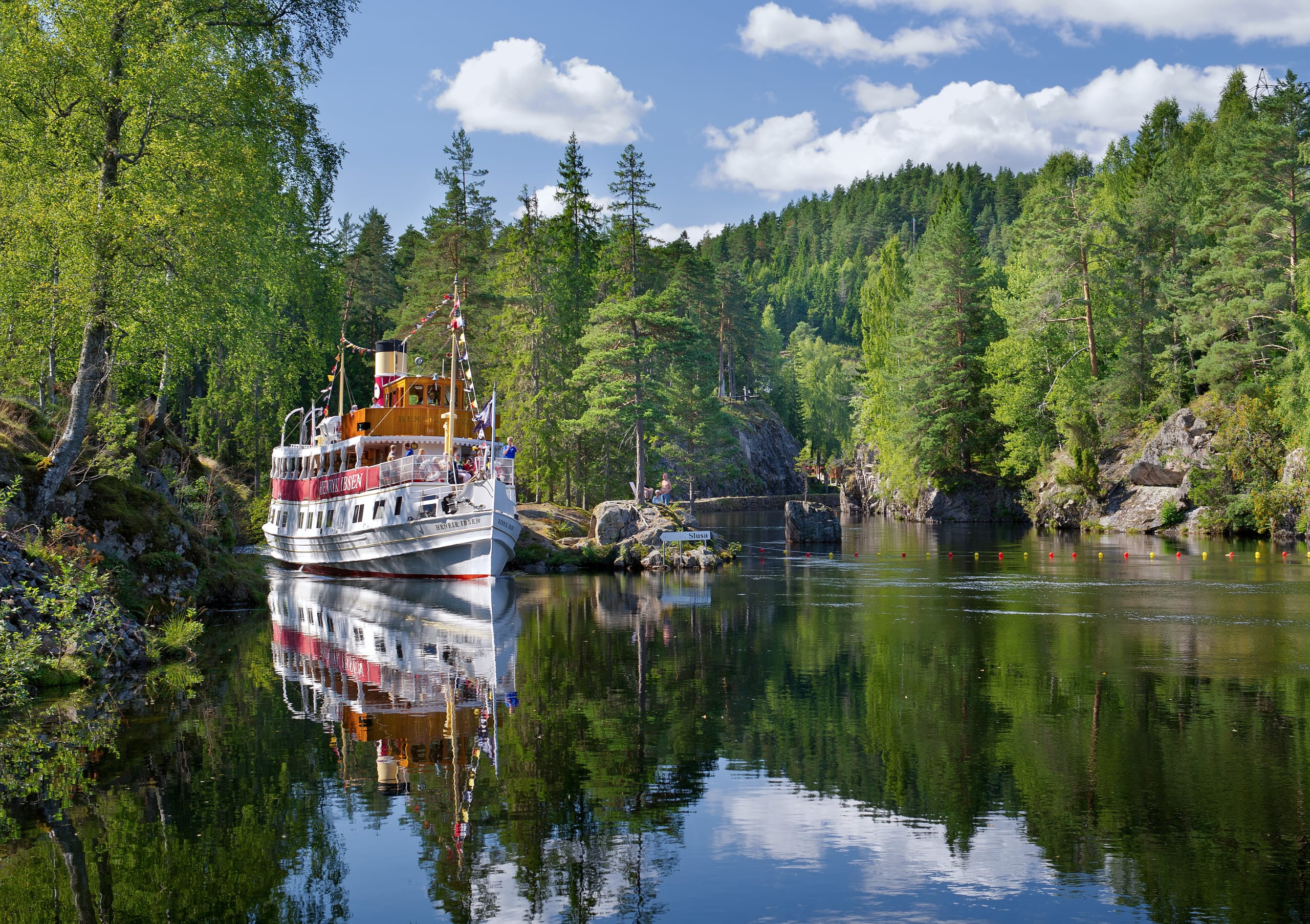 M/S Henrik Ibsen sailing in the Telemark Canal