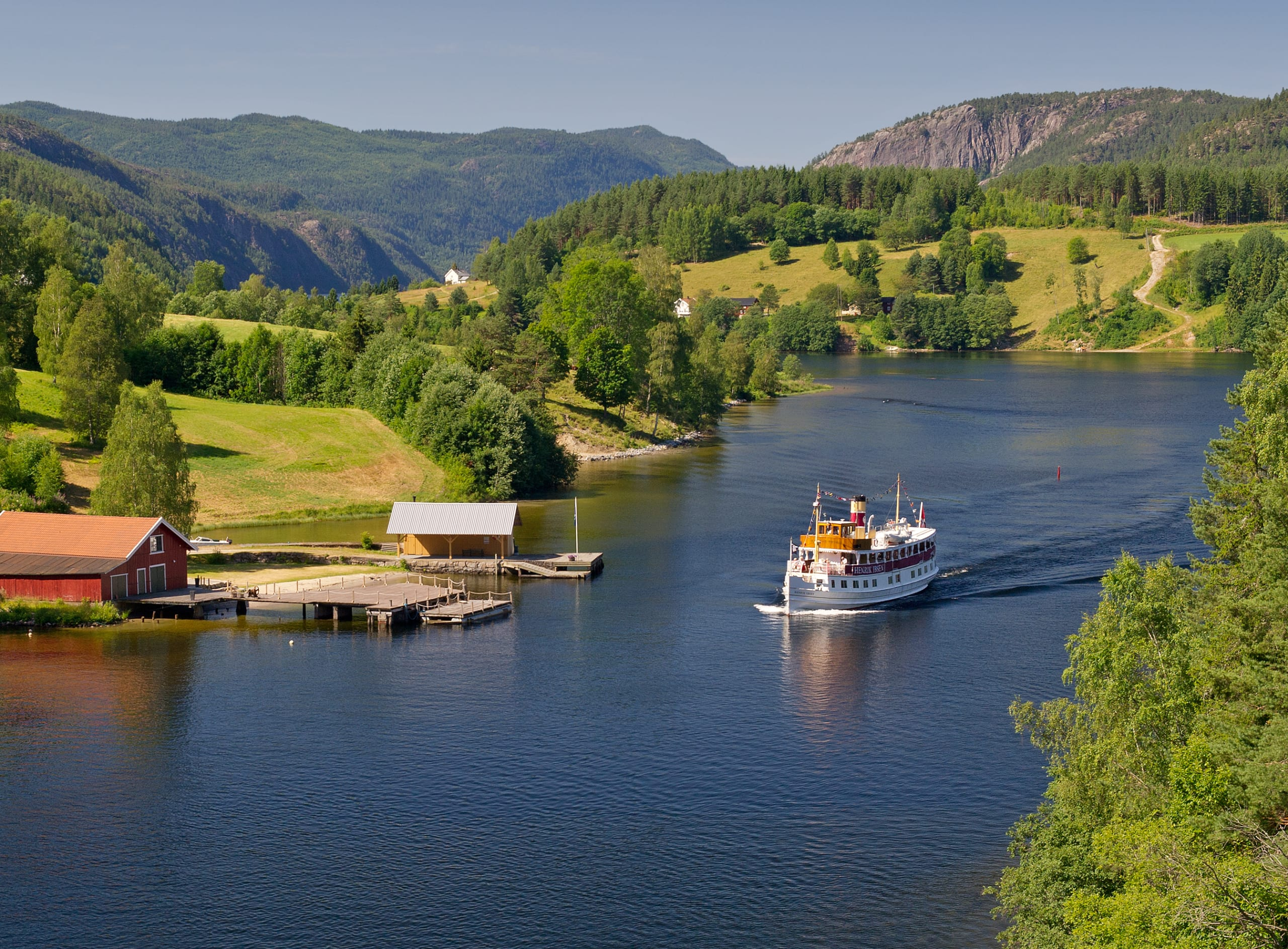 M/S Henrik Ibsen cruising on the Telemark Canal