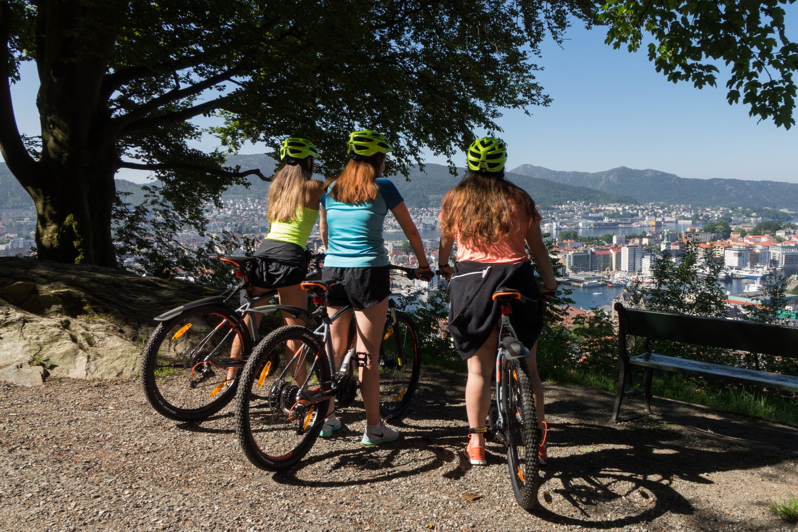 Girls on guided bike tour