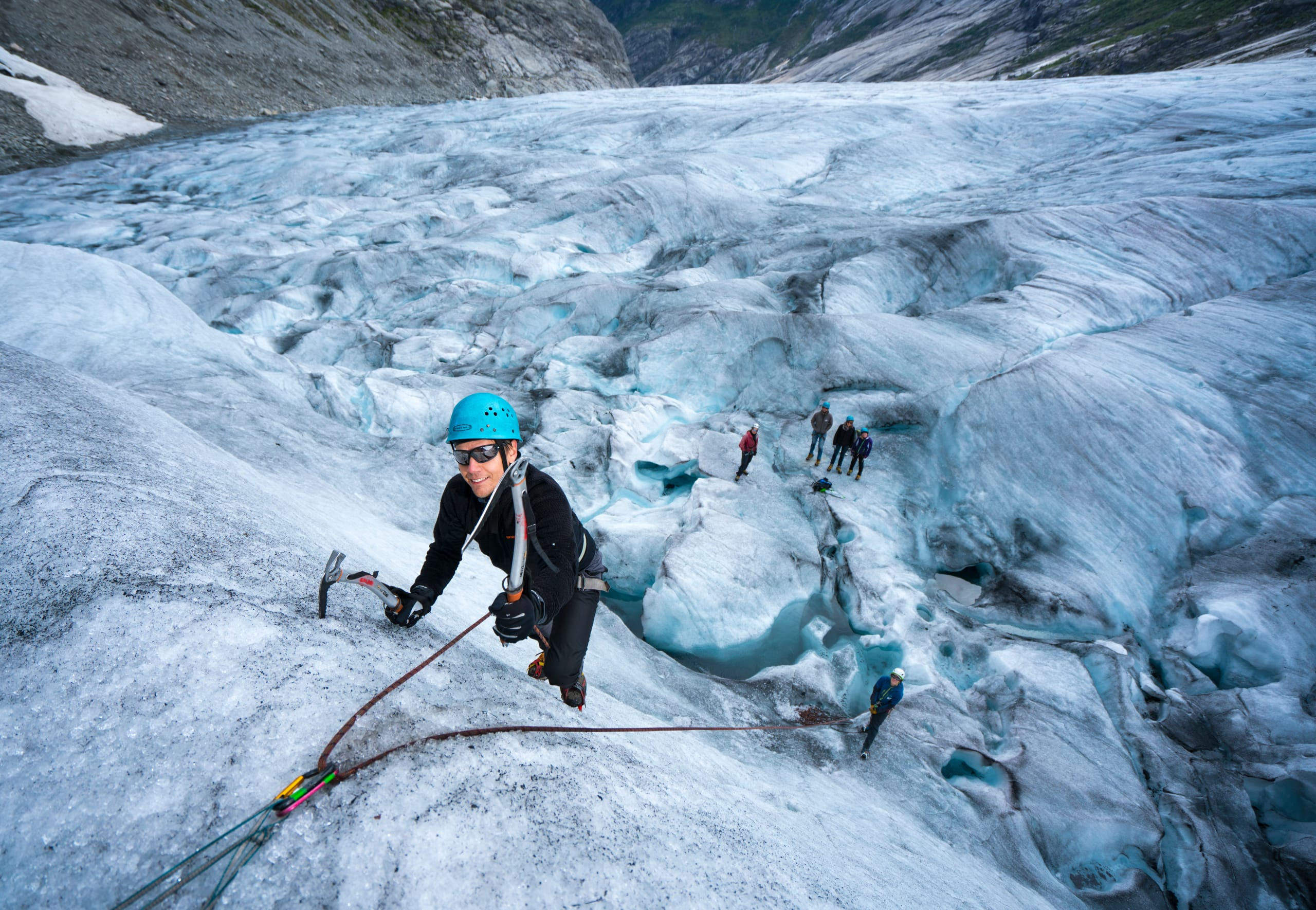 Blue ice hike and top rope climbing