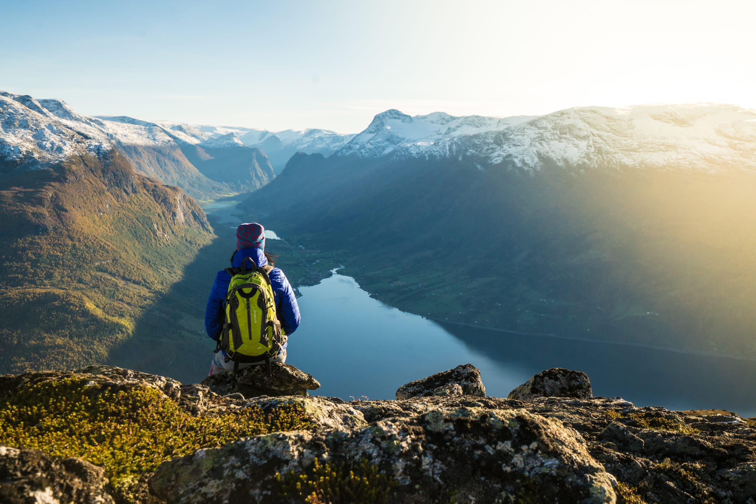 Mountain hike to Hovden with views of Olden