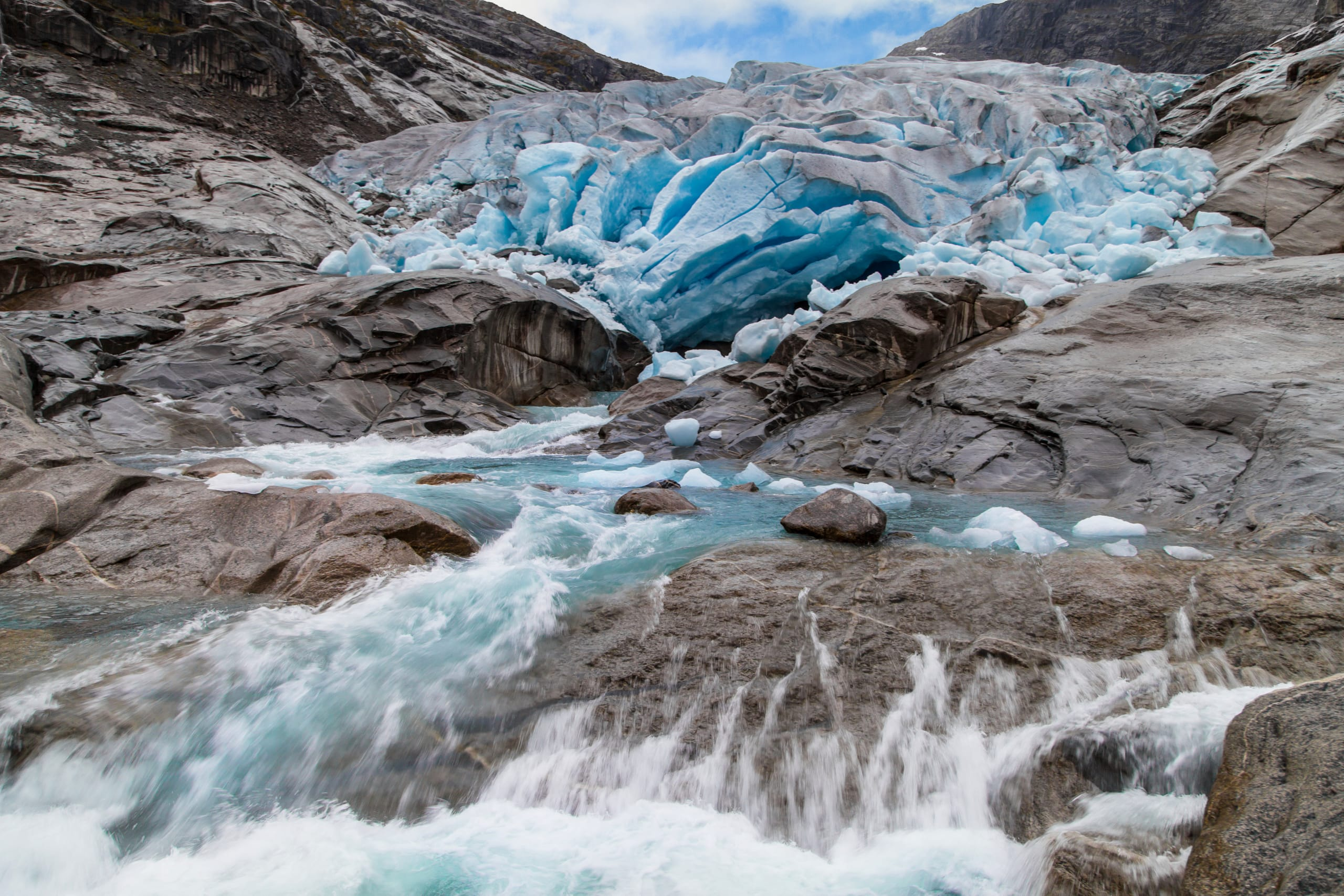 River of melt water under Nigardsbreen glacier