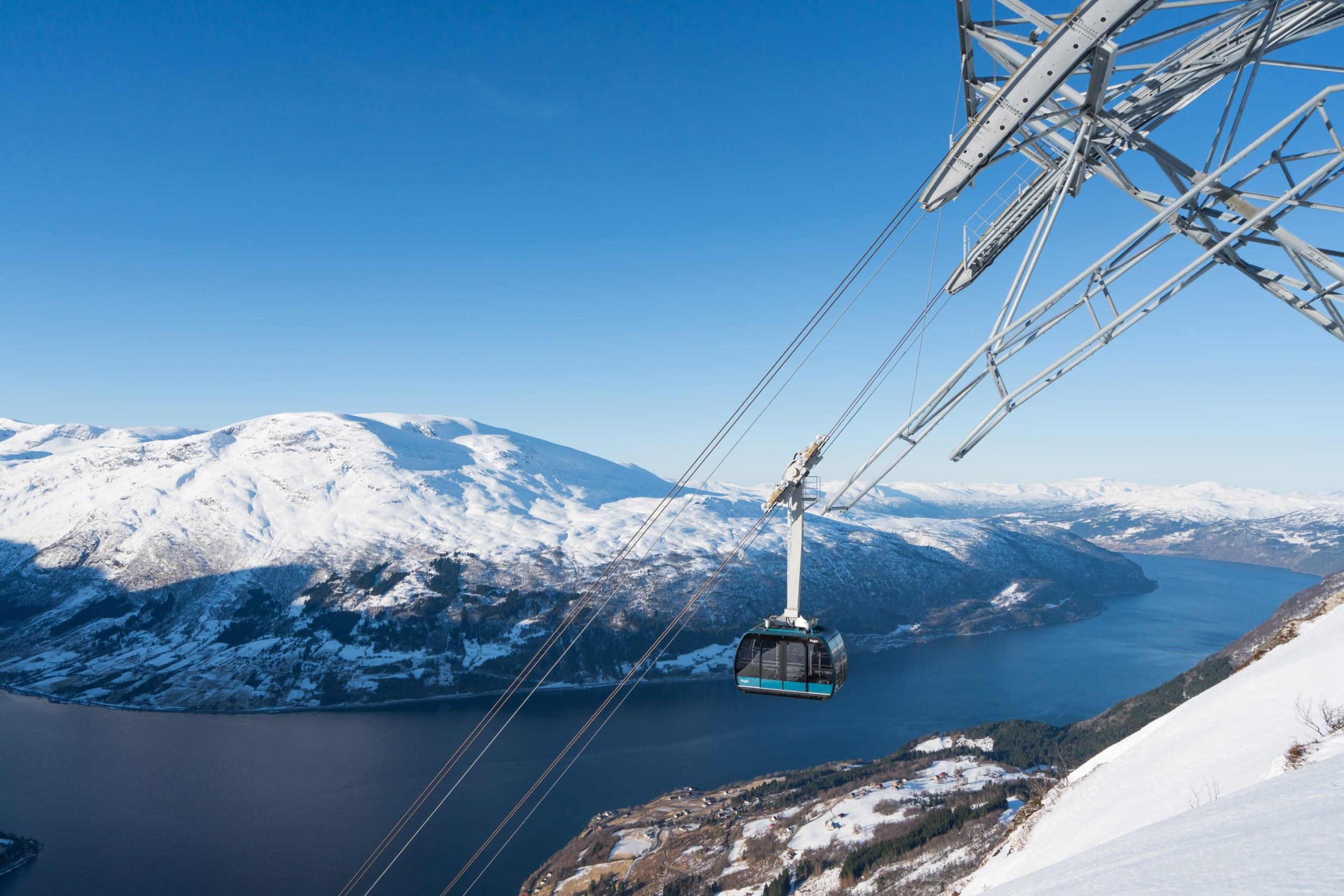 Loen Skylift gondol at winter