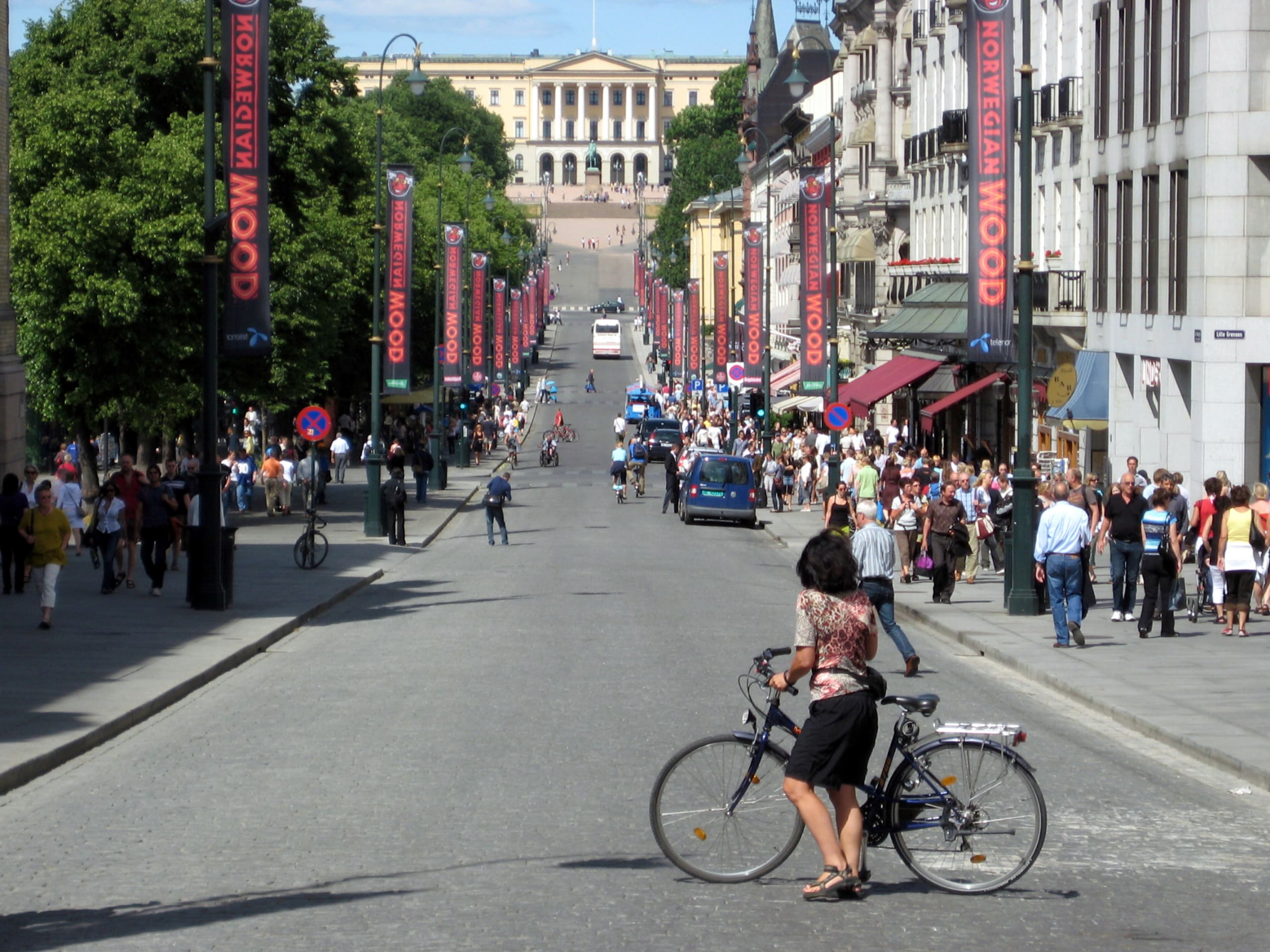 A woman standing in front of her bike look towards the King's Palace from Karl Johan Street downtown Oslo.
