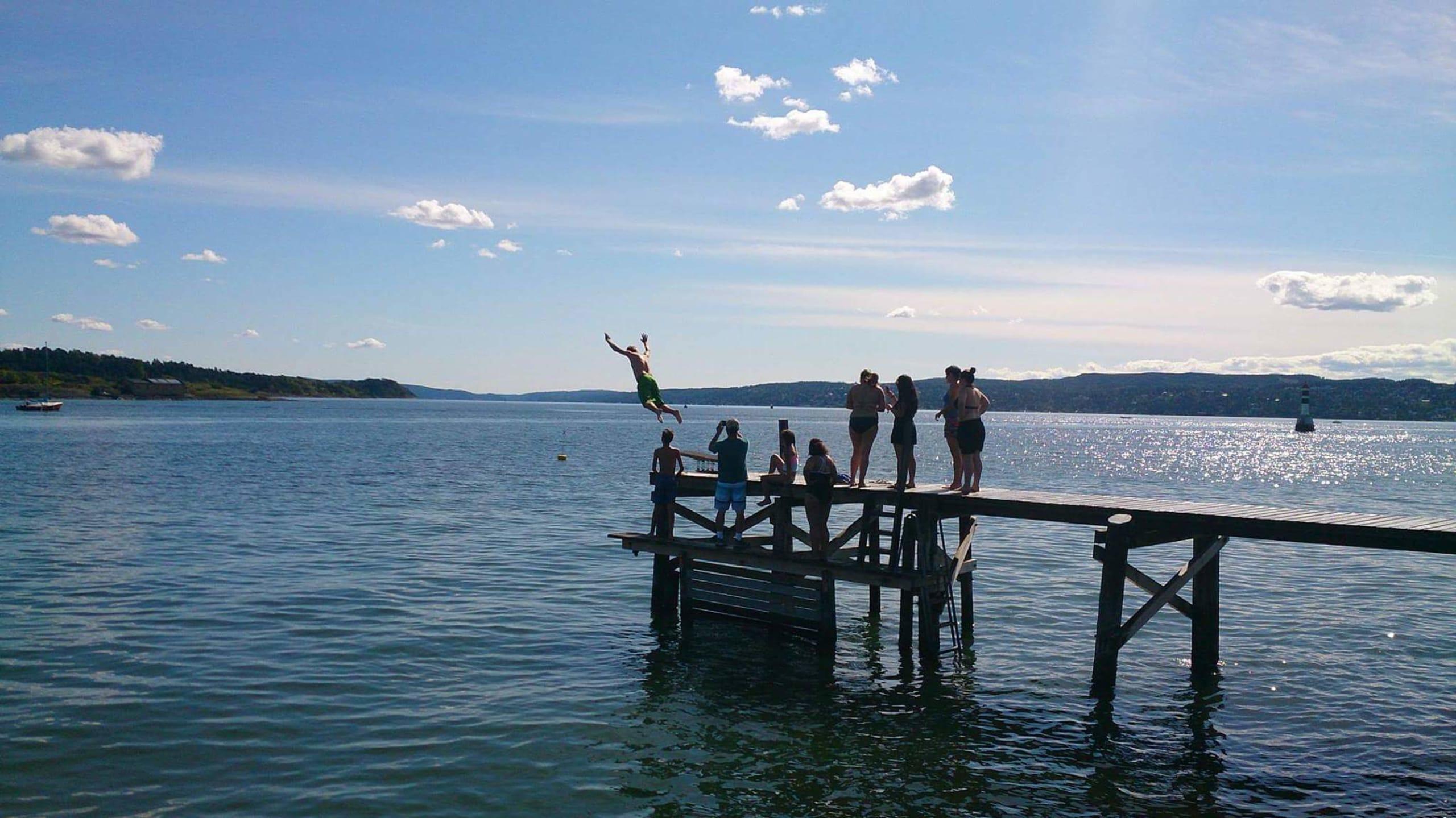 Man jumping into the Oslofjord