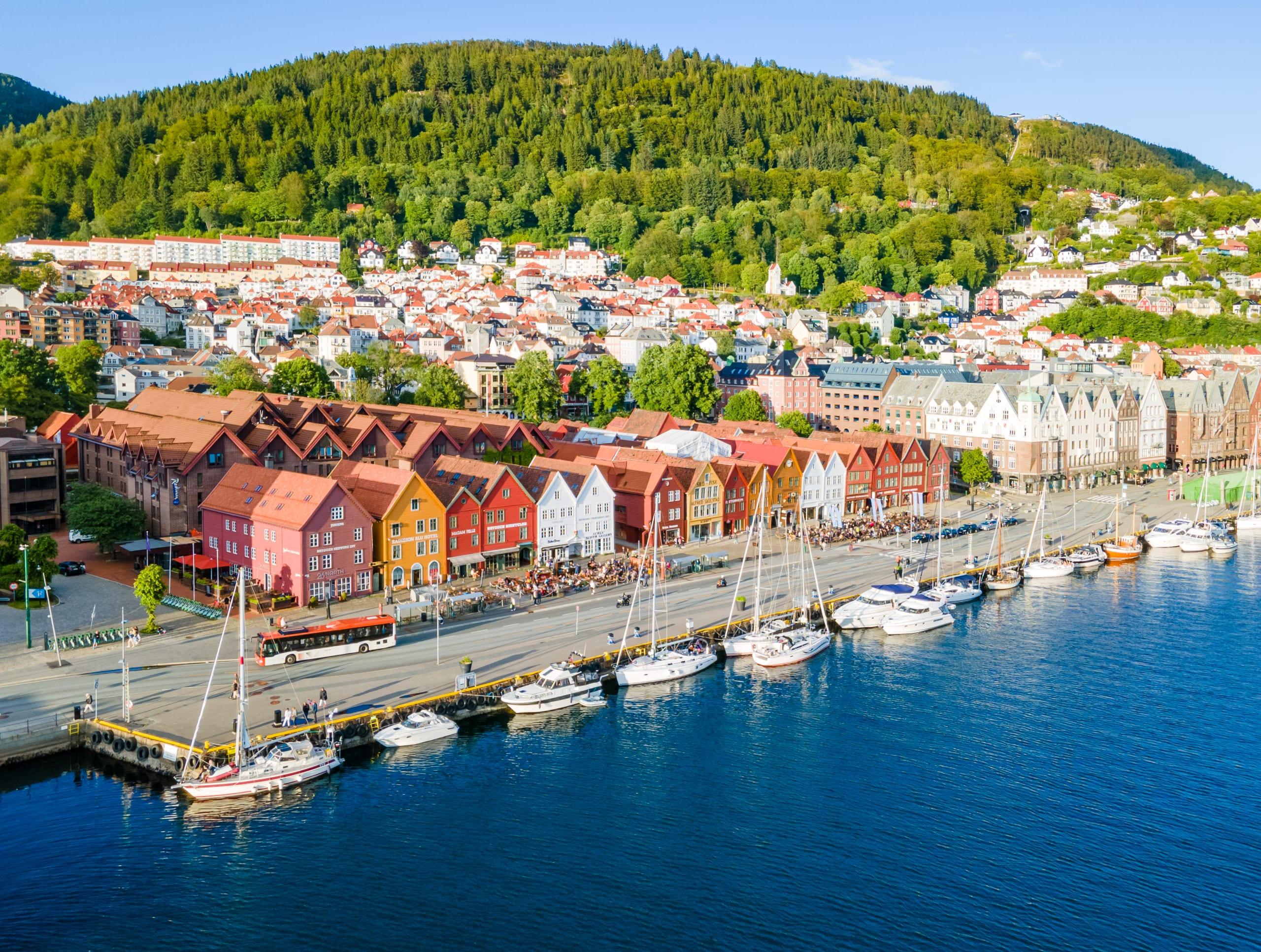 Bryggen in Bergen seen from the sky