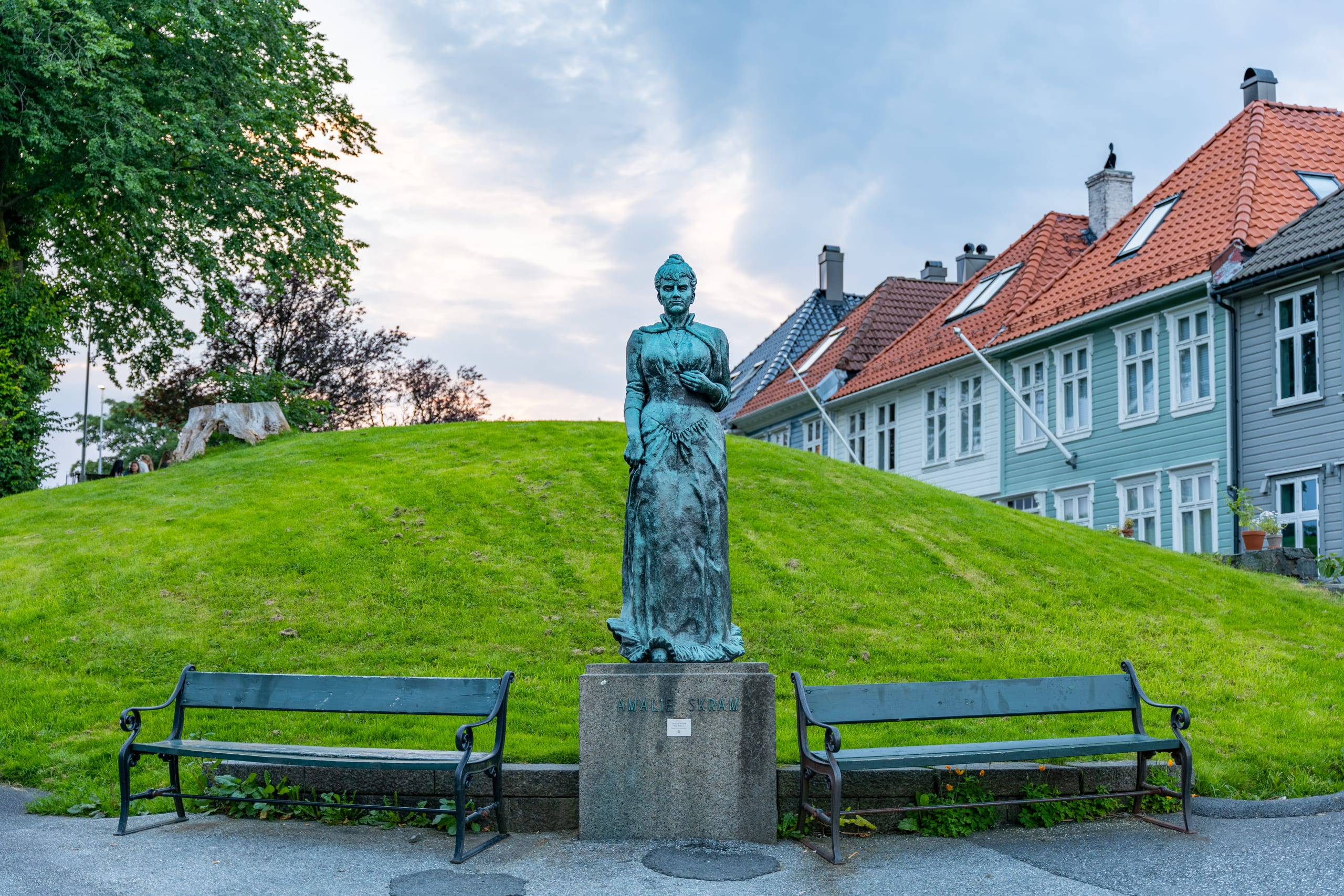 Statue of Amalie Skram at Klosterhaugen in Bergen