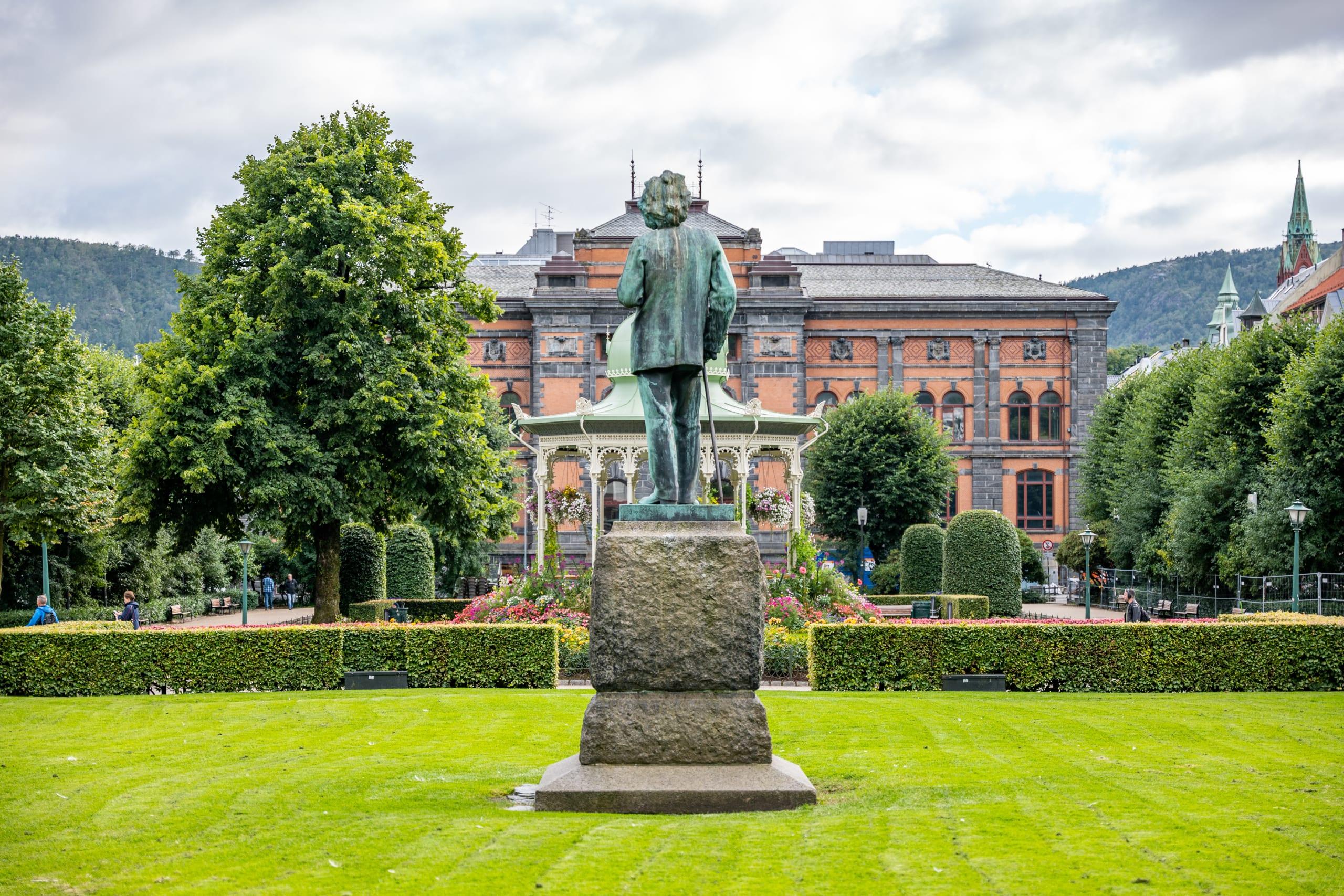 Statue of Edvard Grieg in Byparken in Bergen