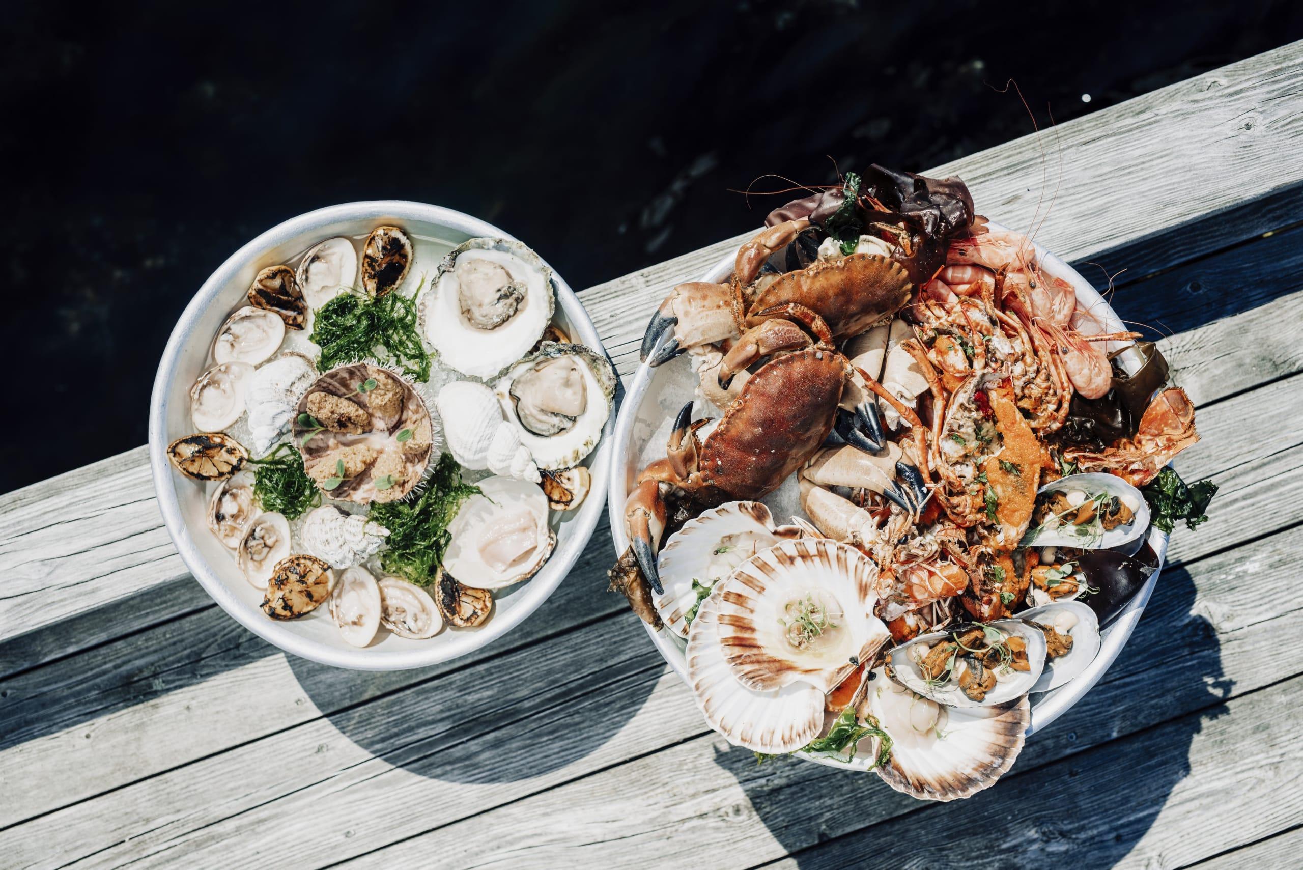 Shellfish tower at Cornelius seafood restaurant