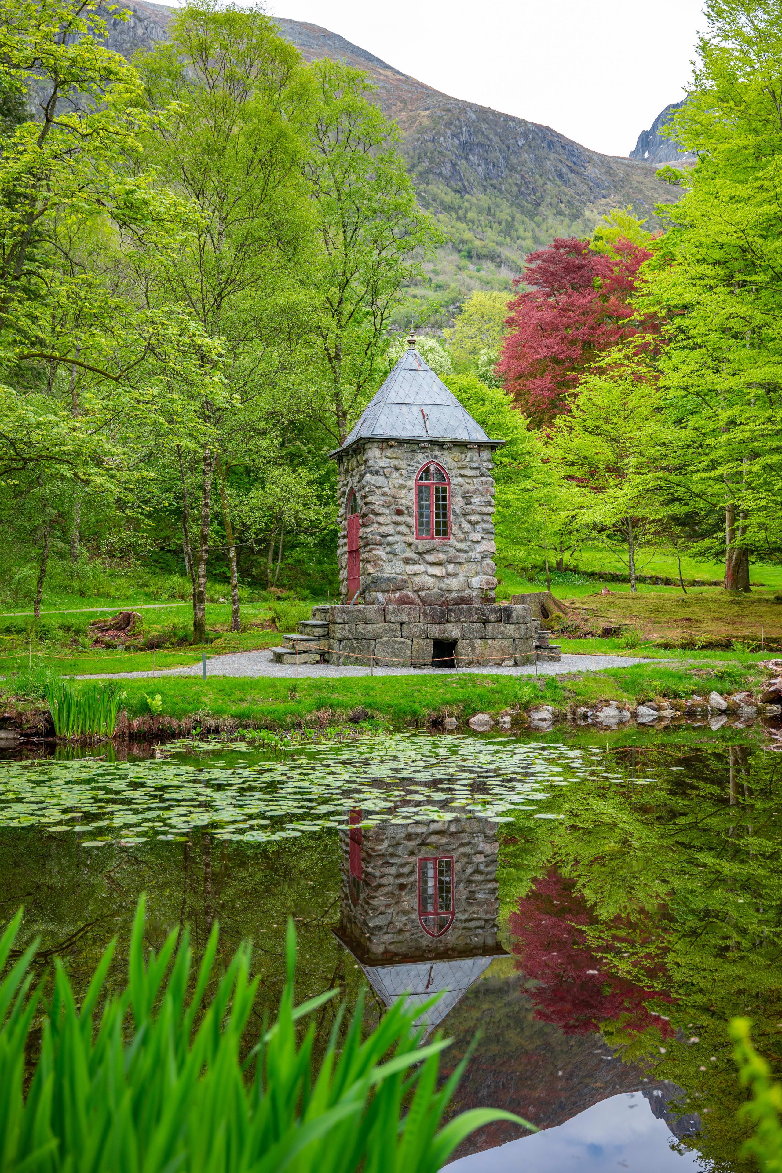 Pond area in the Barony gardens in Rosendal