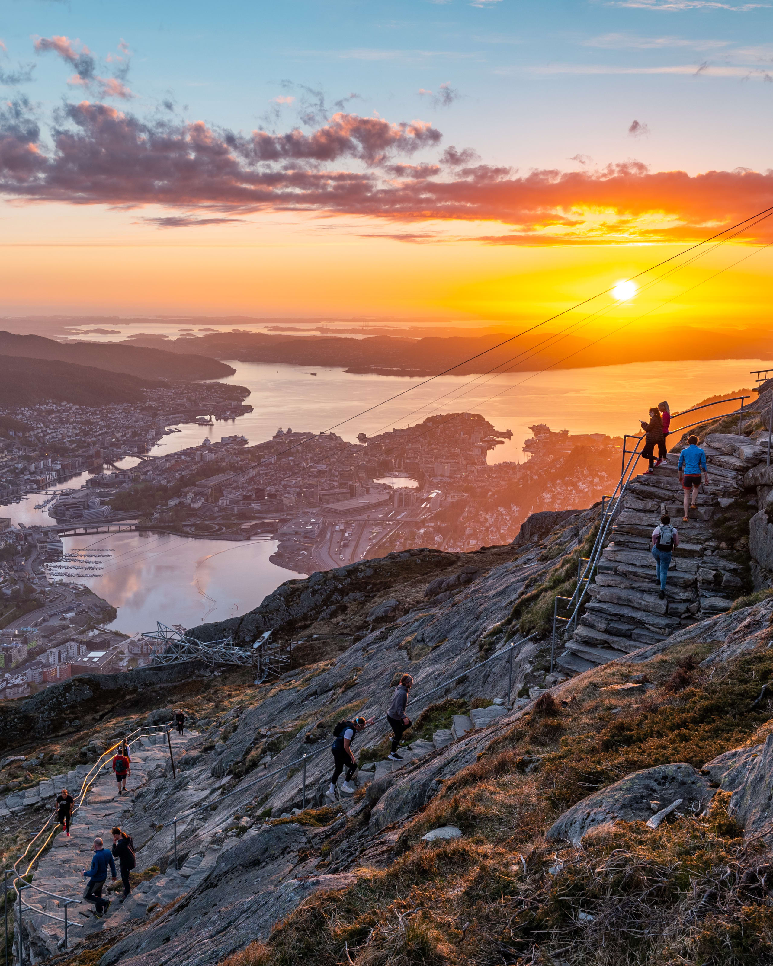 Golden sunset seen from Mount Ulriken in Bergen