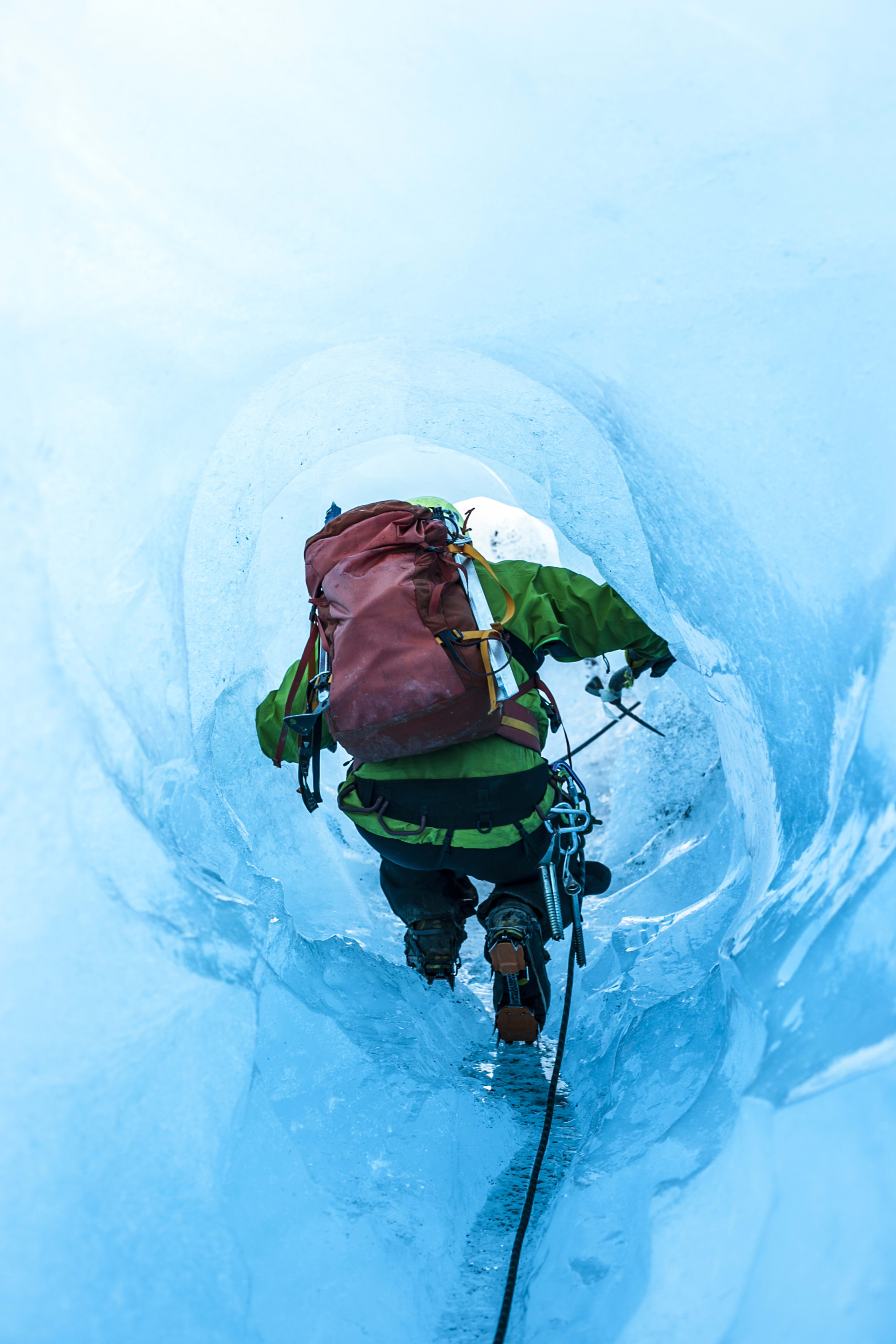 Blue ice tunnel at Folgefonna