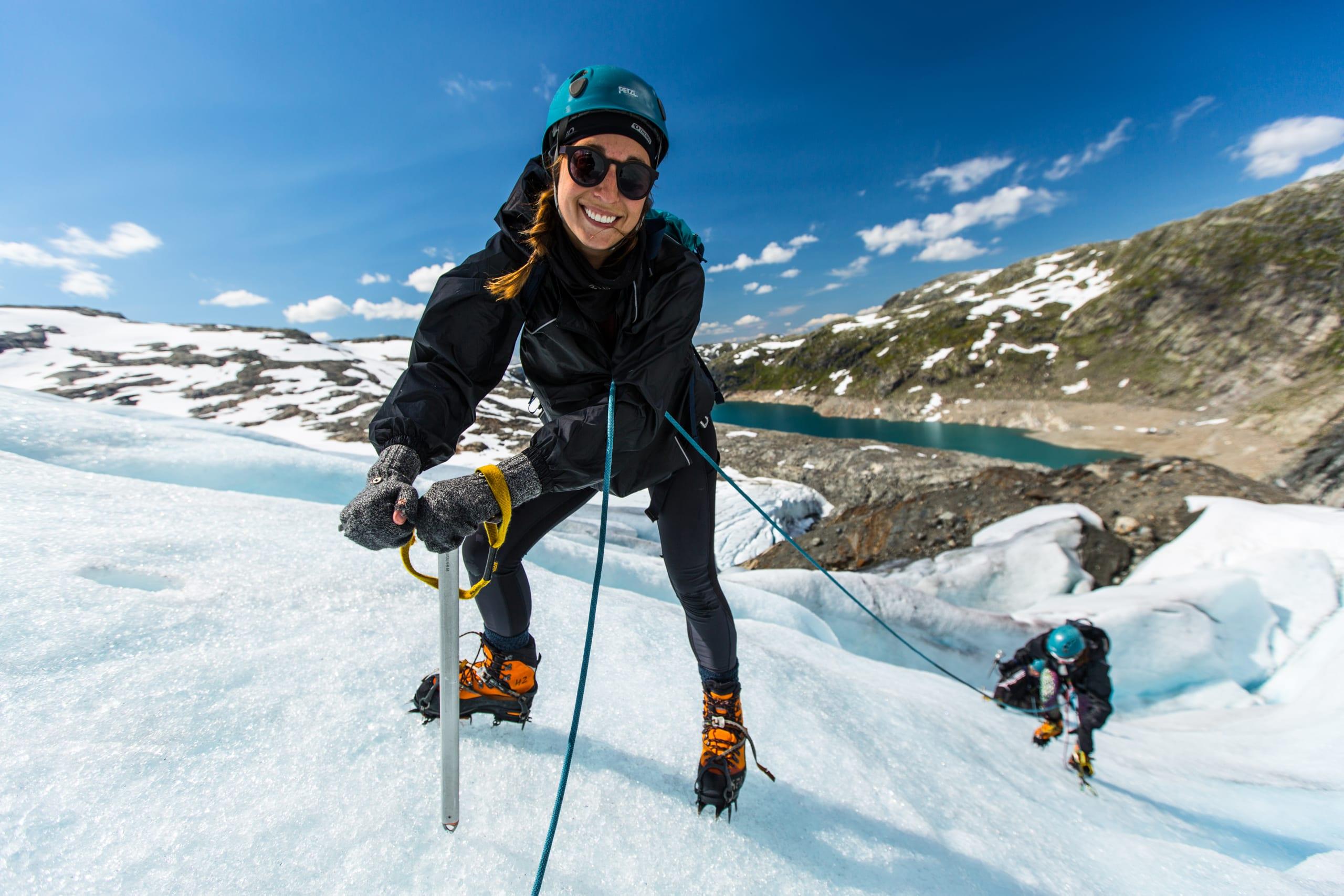 Happy glacier hiker at Folgefonna