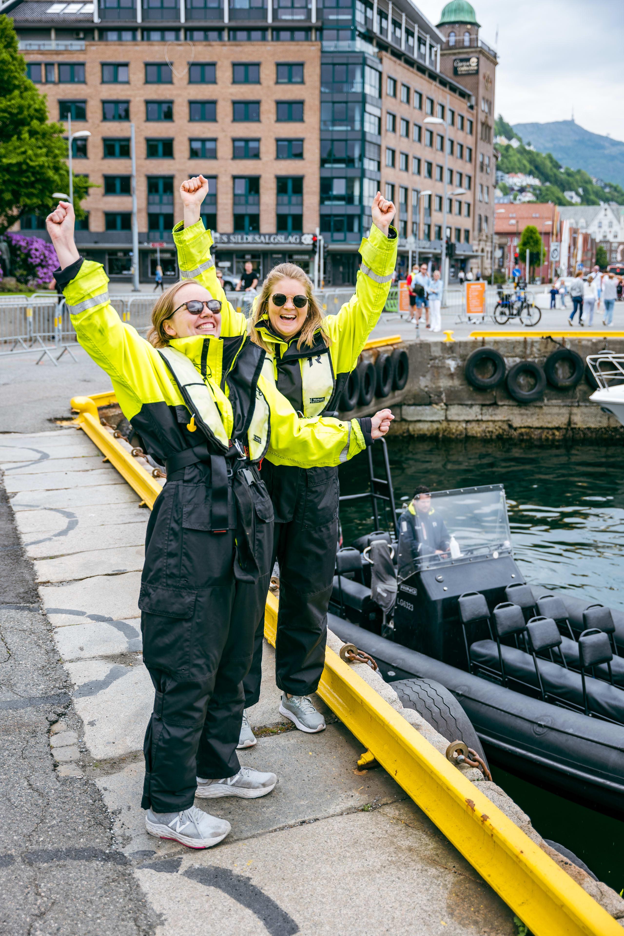 Cheering RIB ladies in Bergen harbor