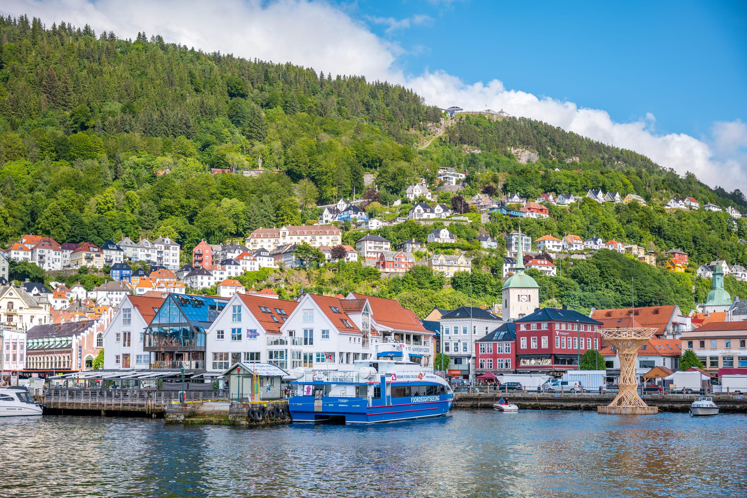 Fjord boat in Bergen harbor