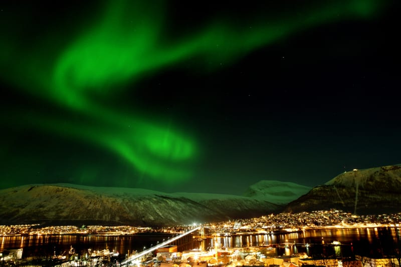 Northern Lights above the city of Tromsø